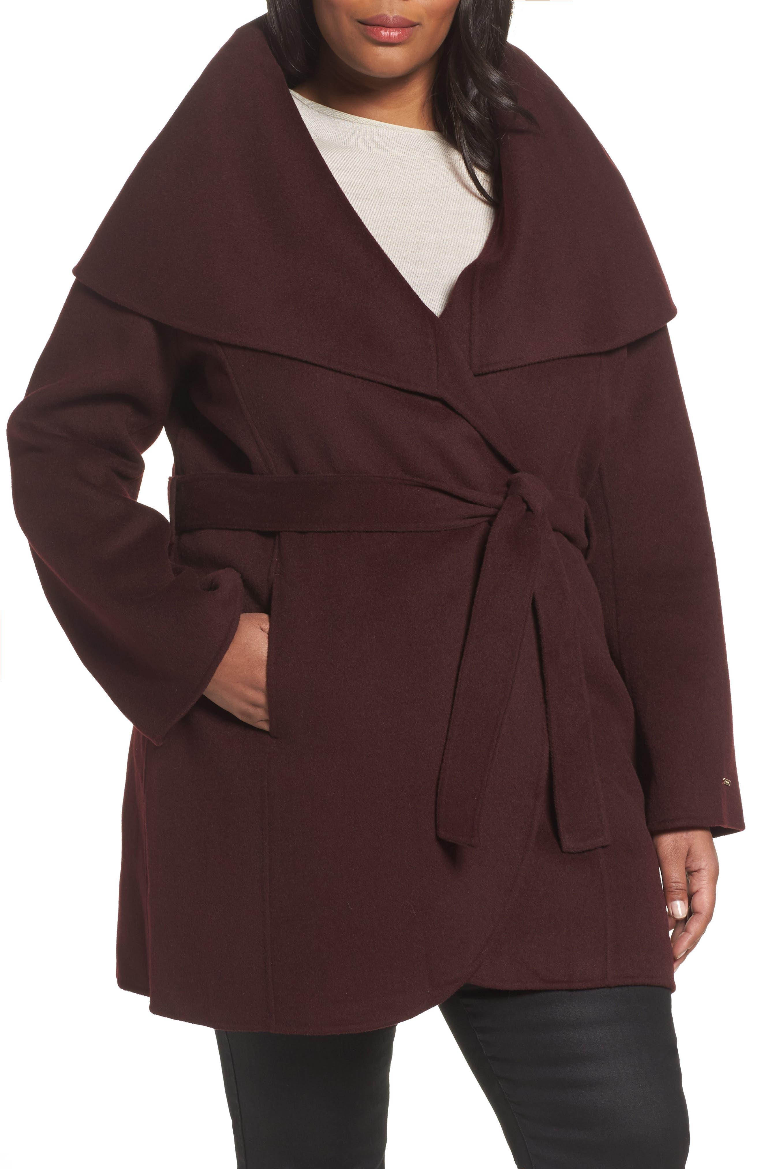 Tahari Maria Double Face Wool Blend Wrap Coat (Plus Size)