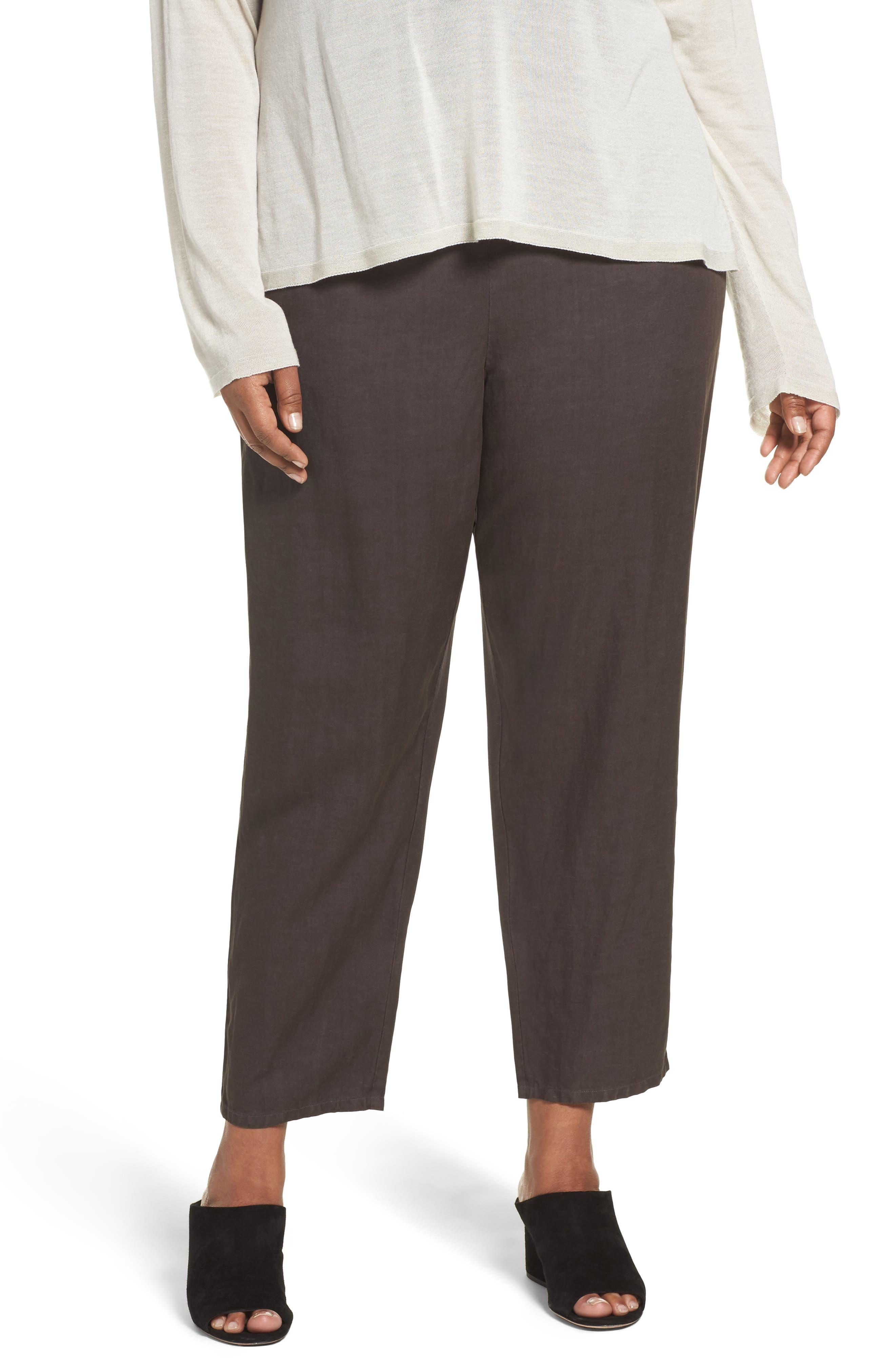 Eileen Fisher Tencel® & Linen Ankle Pants (Plus Size)