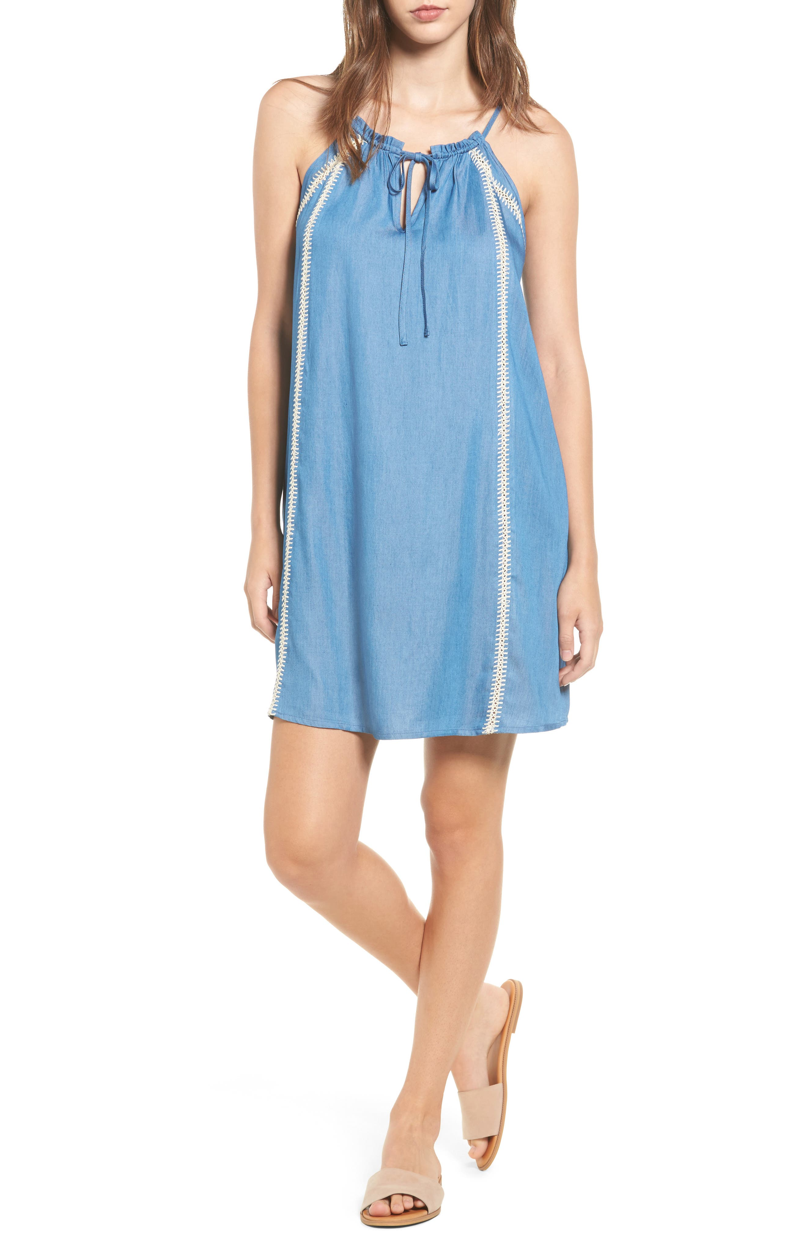 Lush Embroidered Chambray Shift Dress