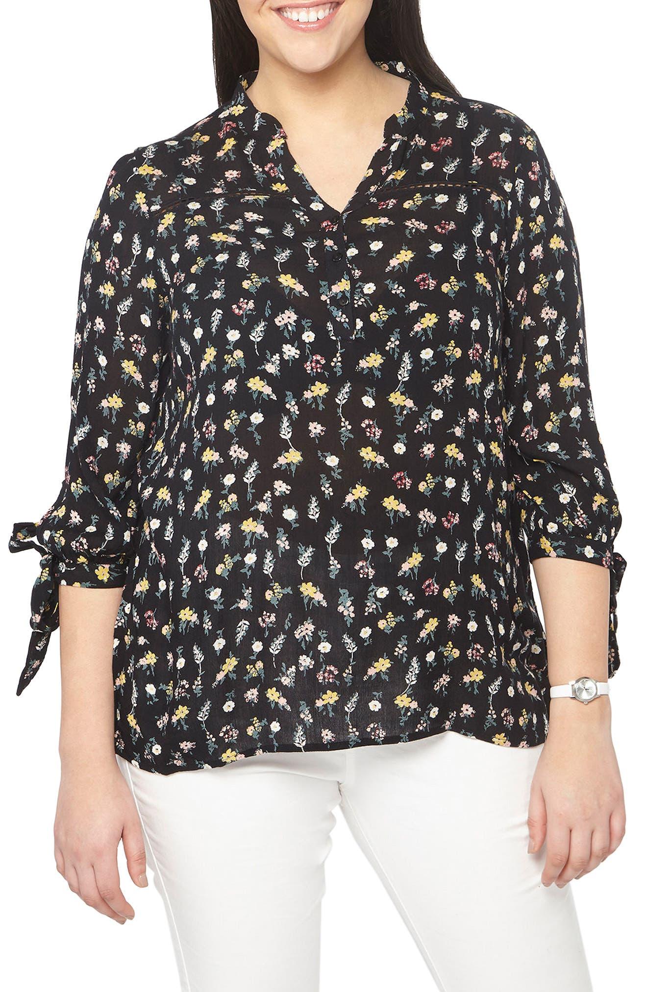 Evans Tie Sleeve Floral Print Blouse (Plus Size)