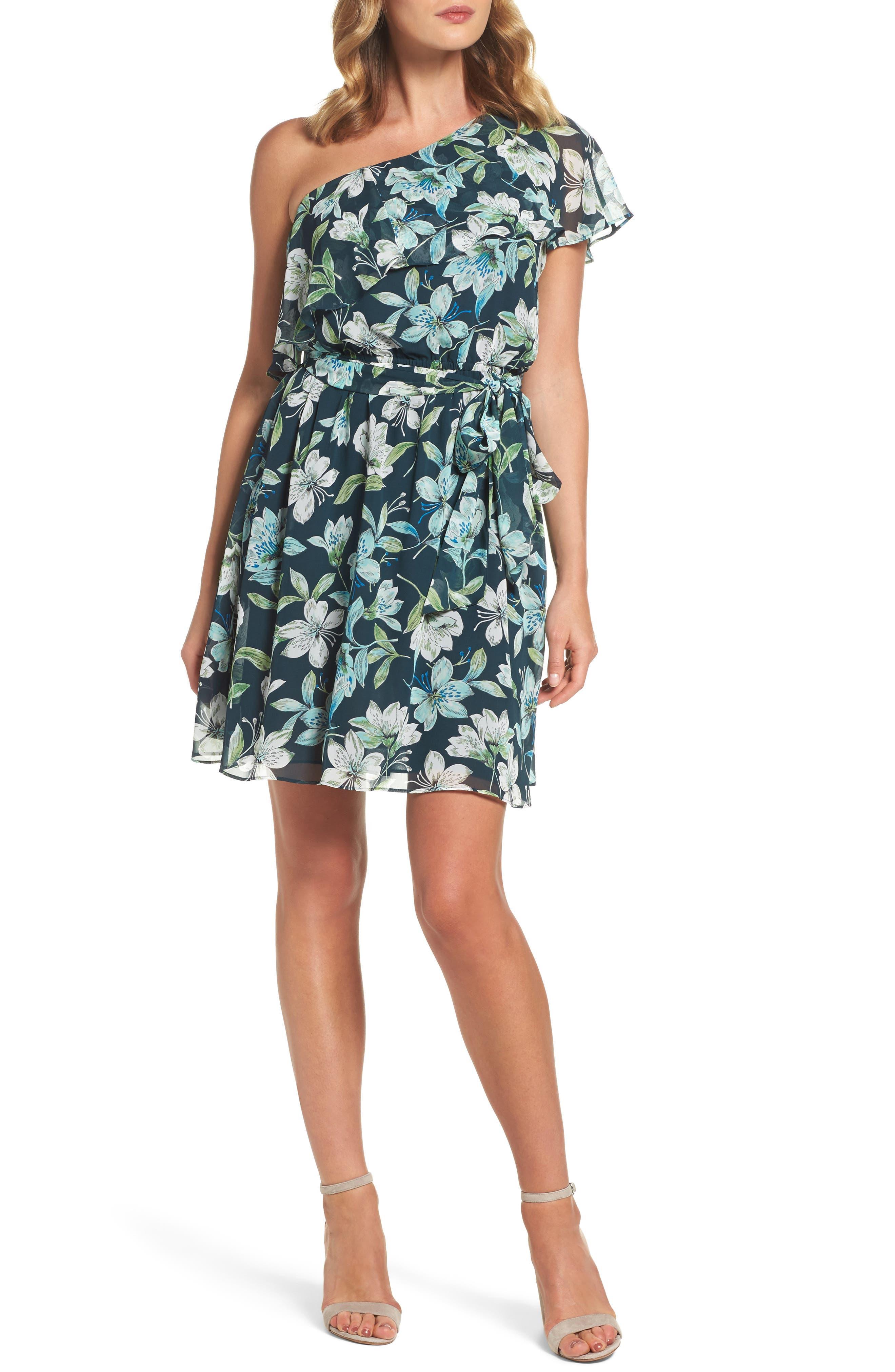 Eliza J Ruffle One-Shoulder Dress (Regular & Petite)