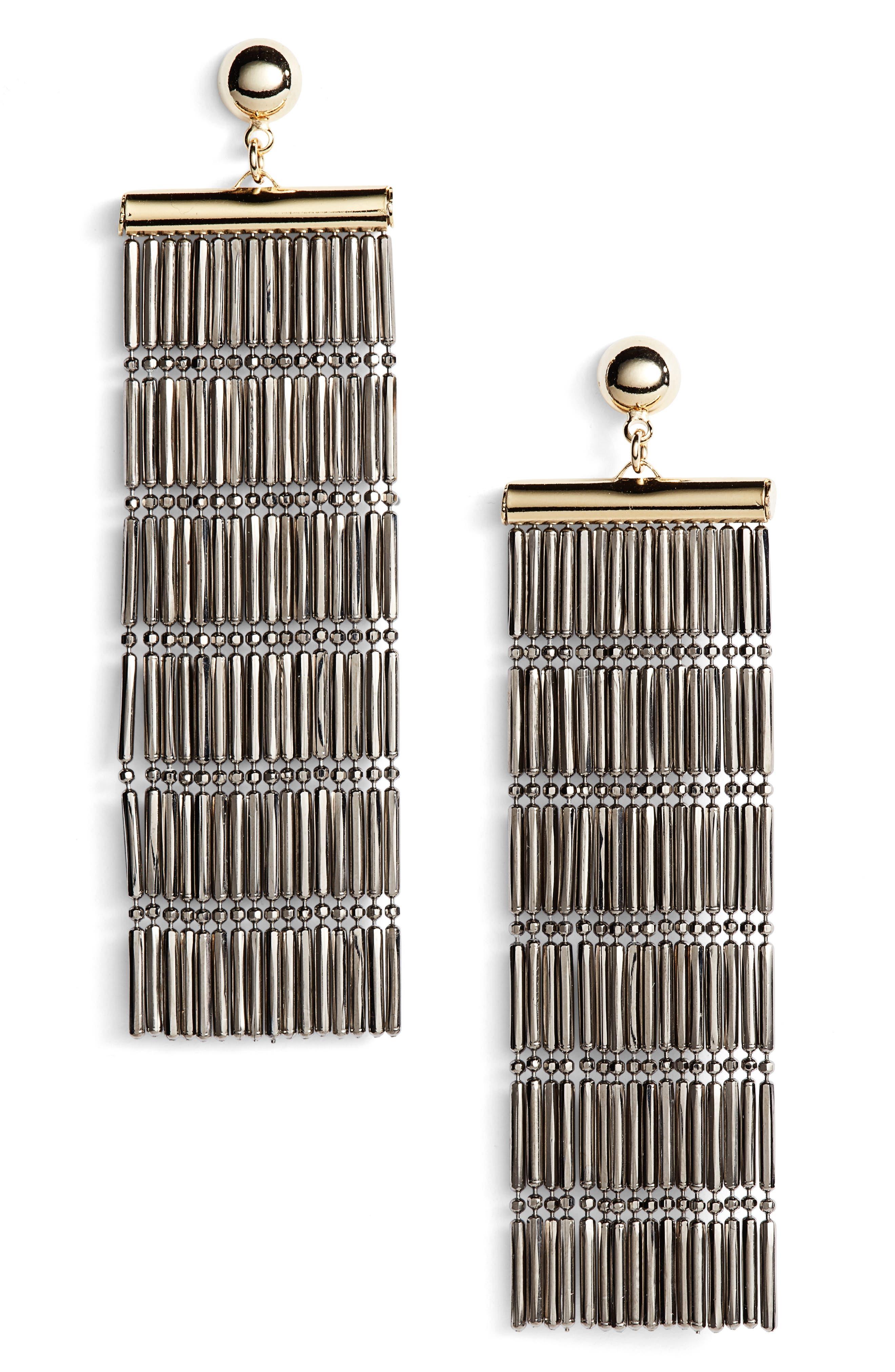 Main Image - Argento Vivo Two-Tone Linear Fringe Earrings