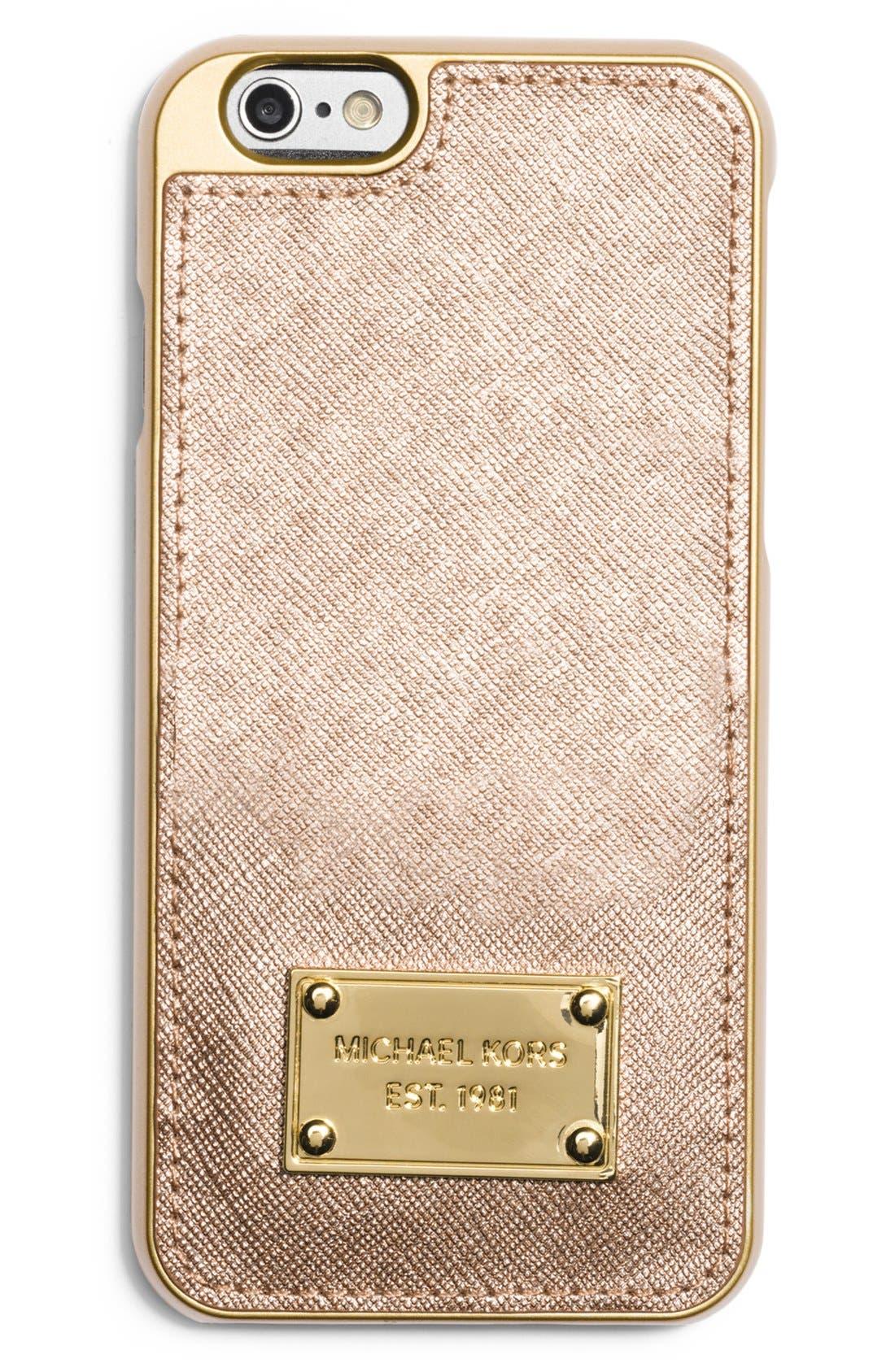 Alternate Image 1 Selected - MICHAEL Michael Kors Metallic Leather iPhone 6 Case