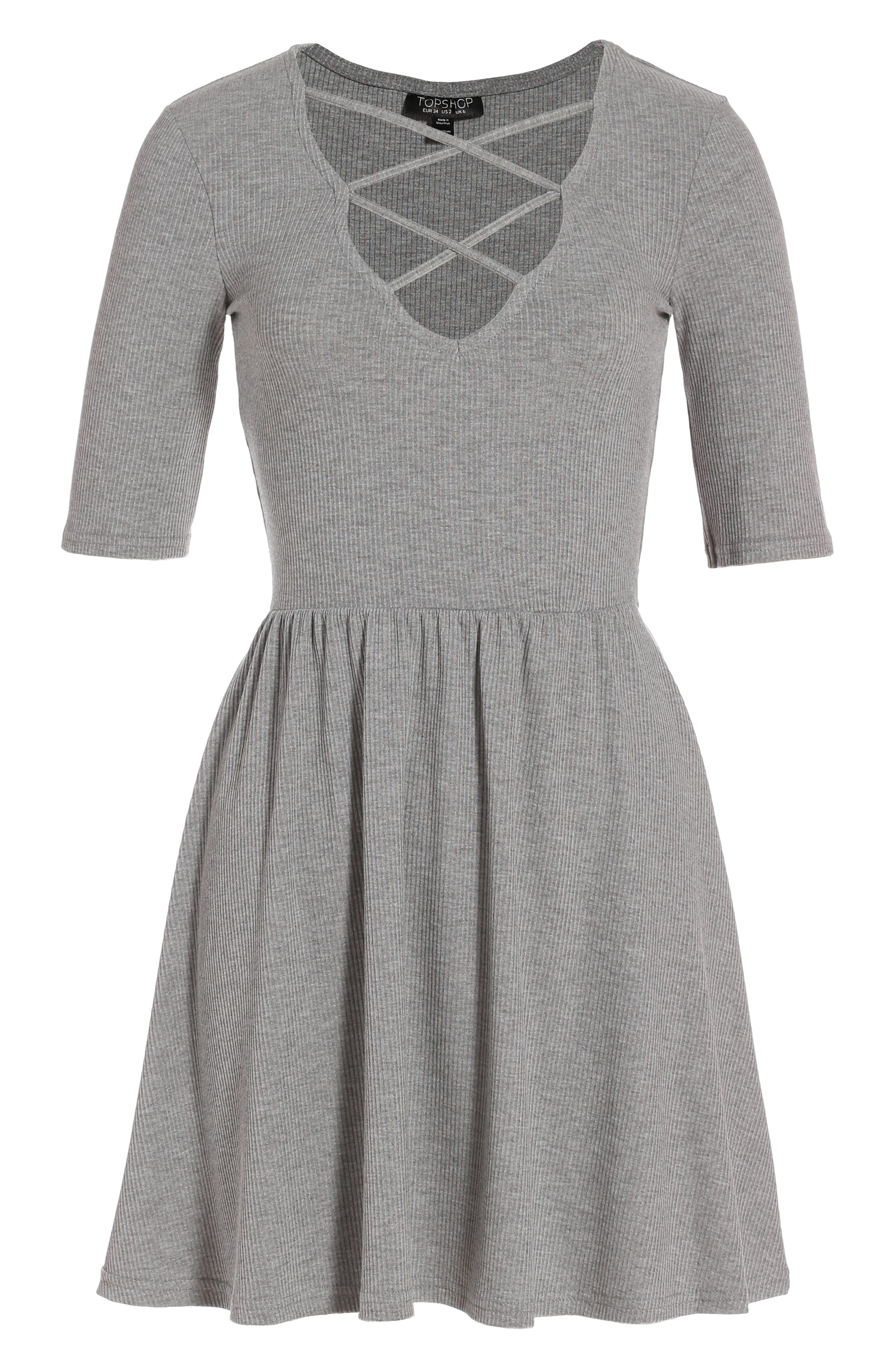 Topshop Lattice Skater Dress