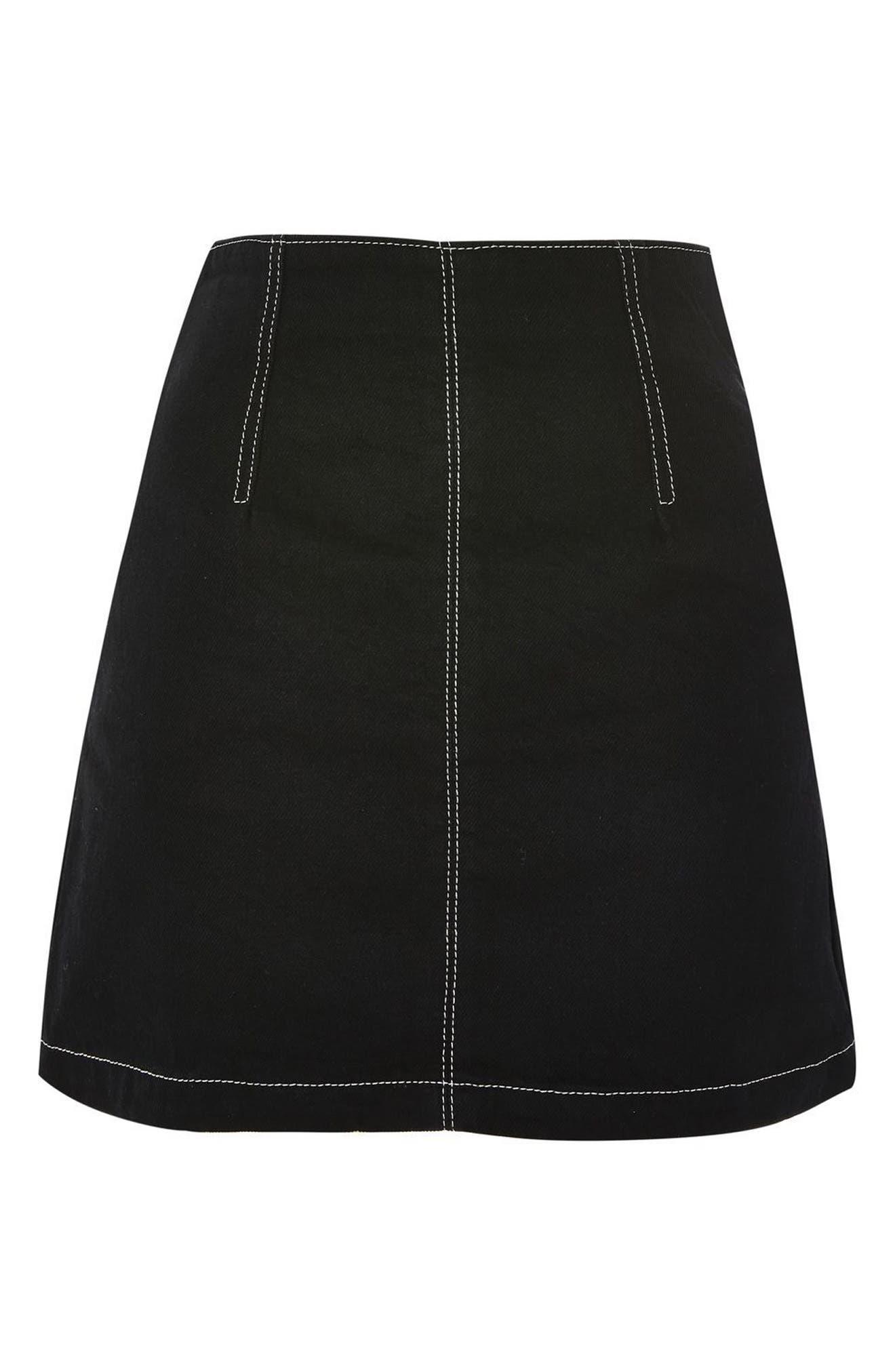 Alternate Image 3  - Topshop Contrast Stitch Denim Skirt