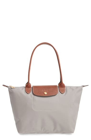 longchamp 39 small le pliage 39 shoulder tote grey in putty modesens. Black Bedroom Furniture Sets. Home Design Ideas