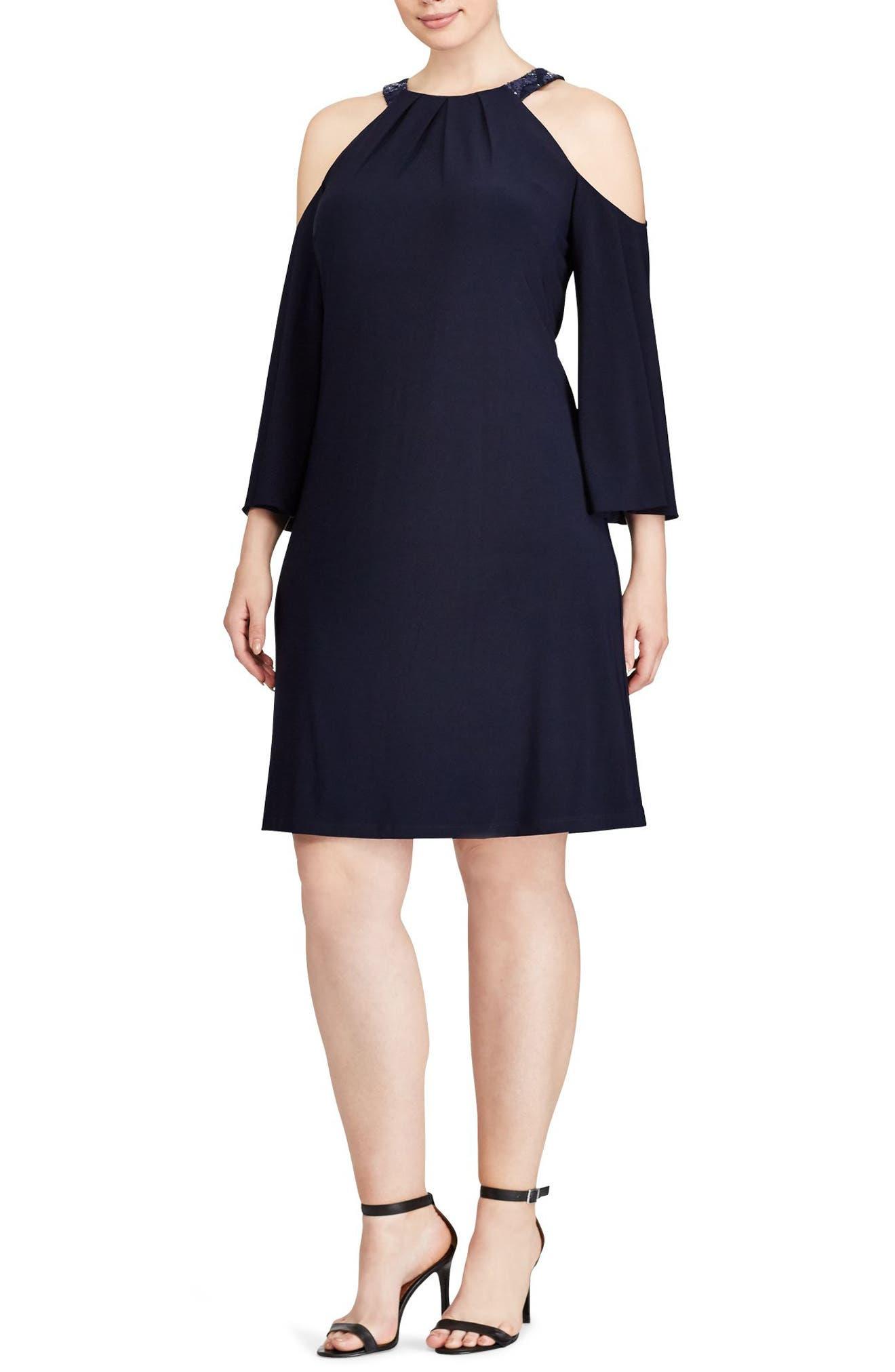 Lauren Ralph Lauren Cold Shoulder Shift Dress (Plus Size)