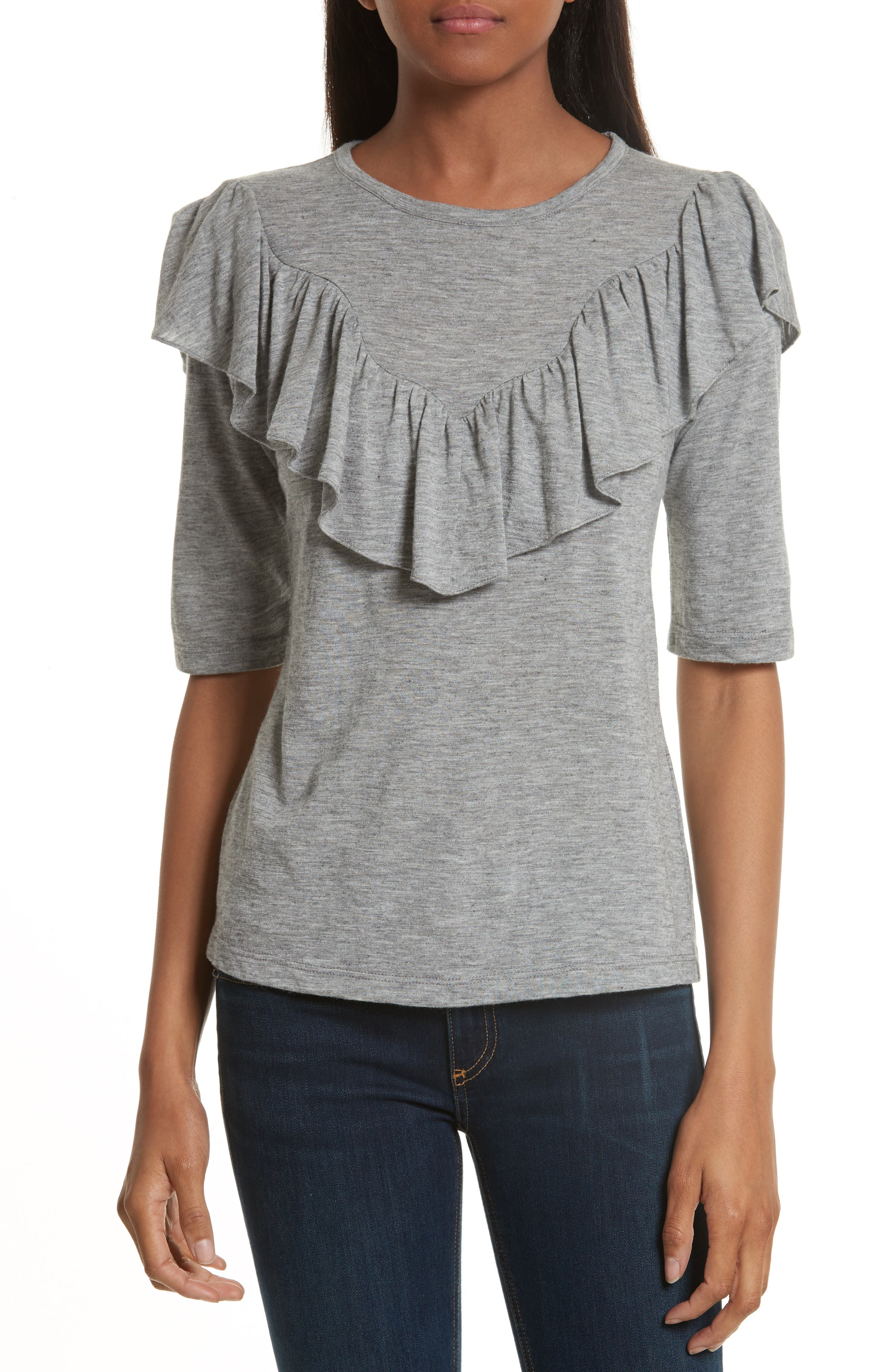 Rebecca Taylor Ruffle Front Mélange Jersey Top