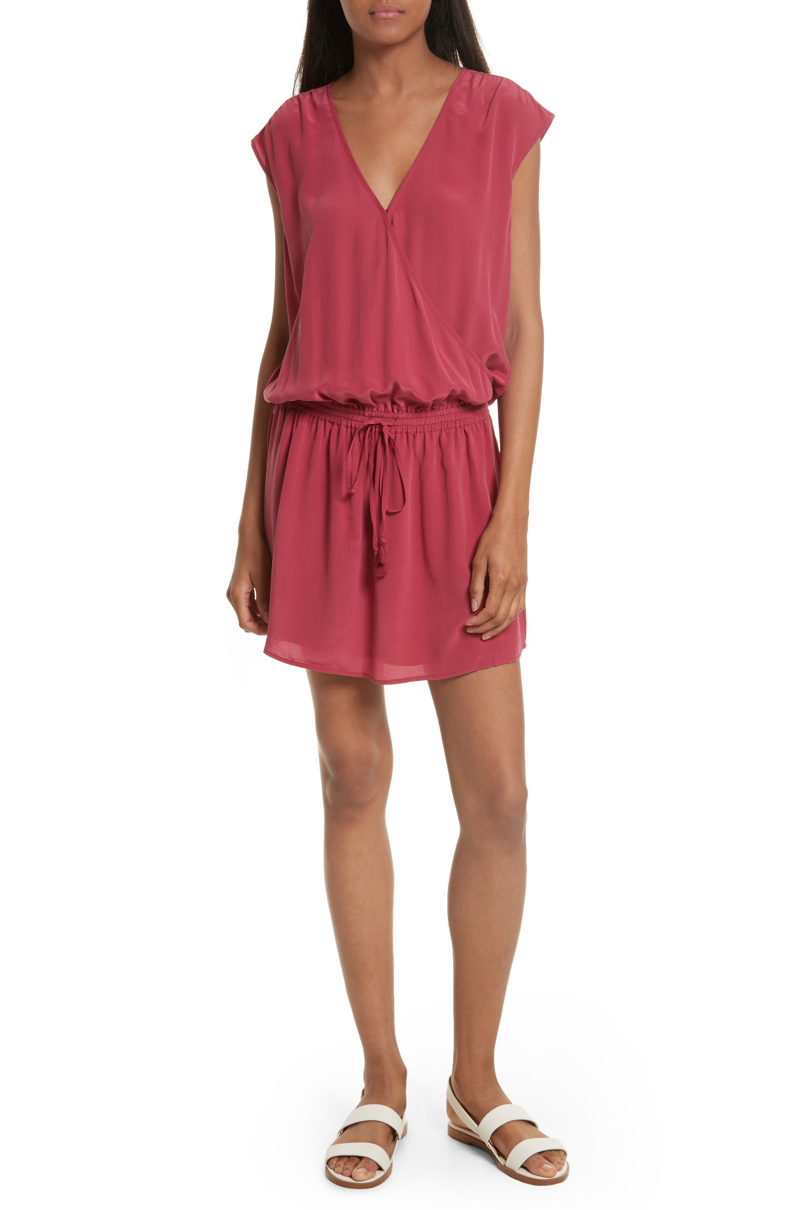 Joie Aniya Surplice Silk Minidress