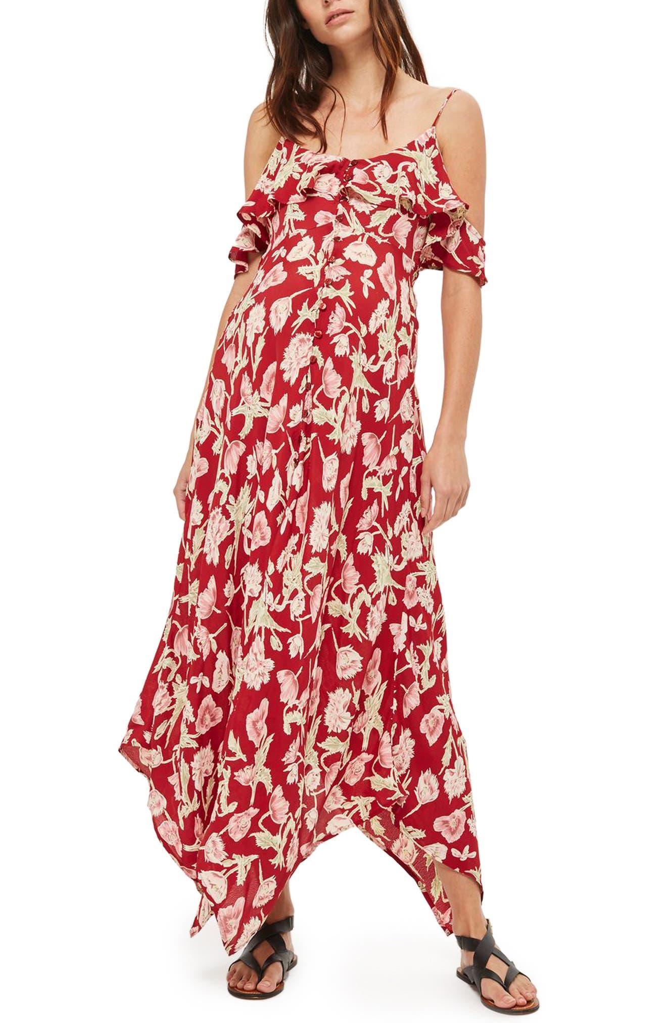 Topshop Floral Handkerchief Hem Maternity Maxi Dress