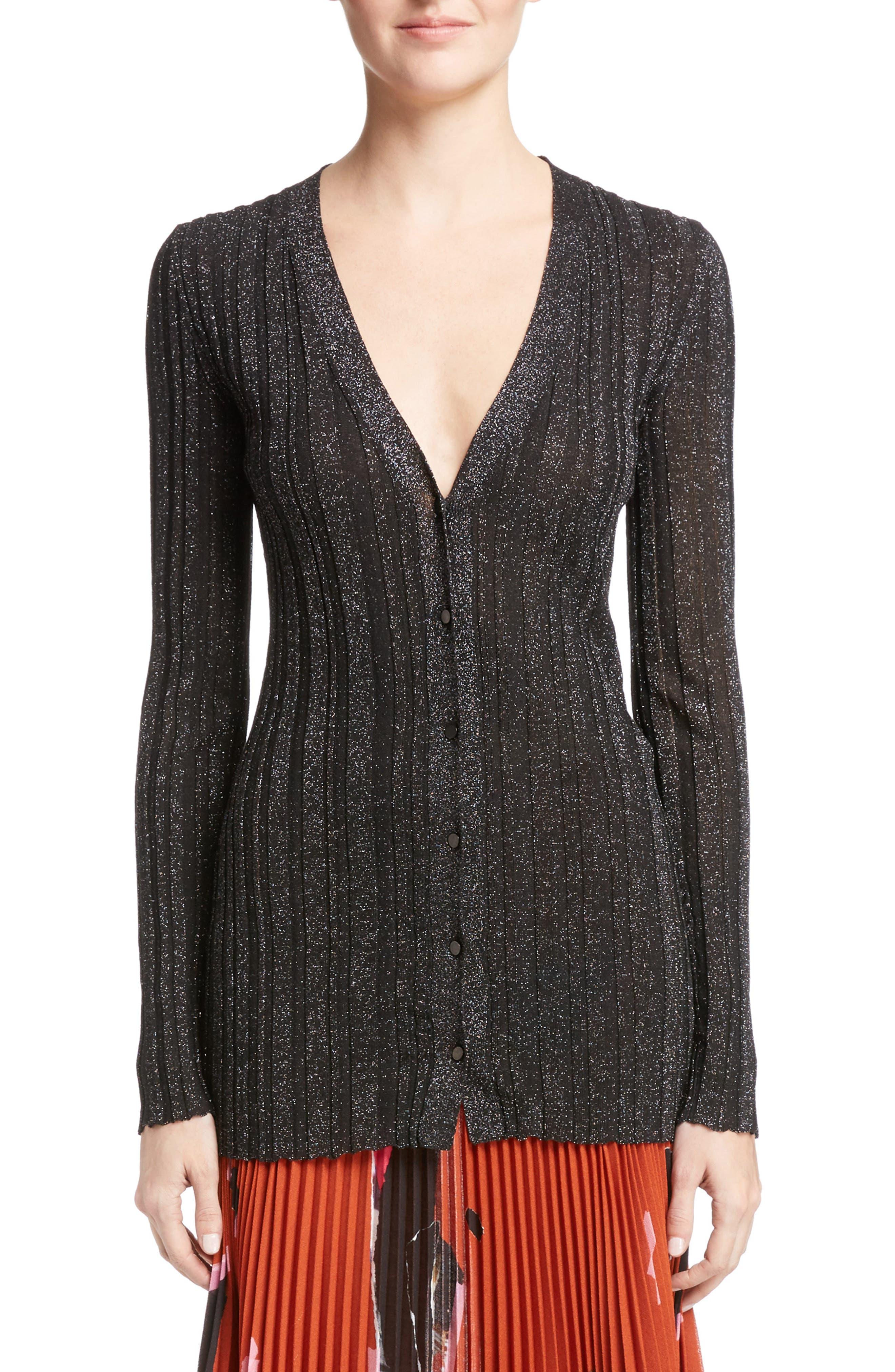 Proenza Schouler Lurex® Metallic Rib Knit Cardigan