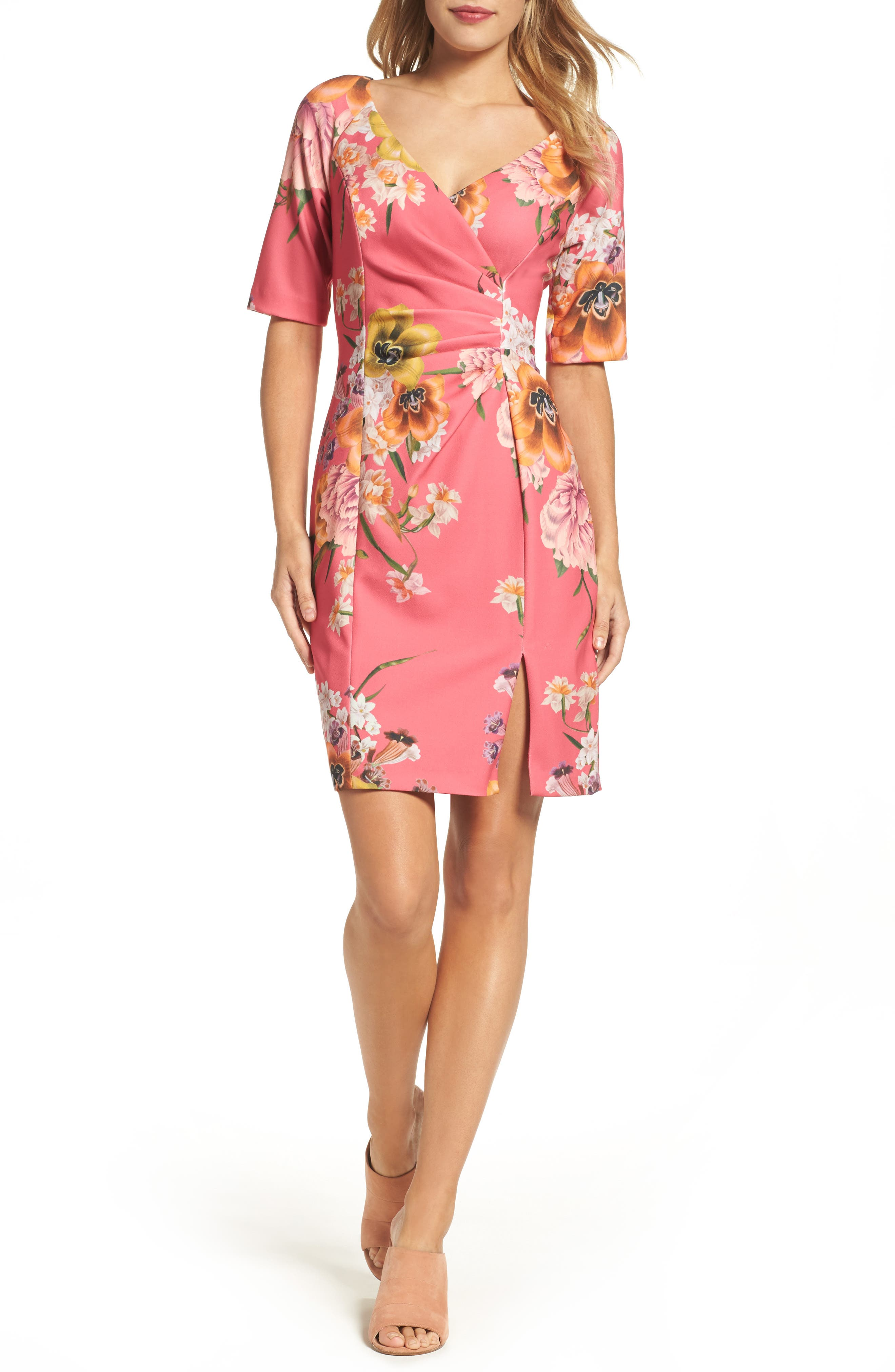 Adrianna Papell Beckoning Bouquets Sheath Dress