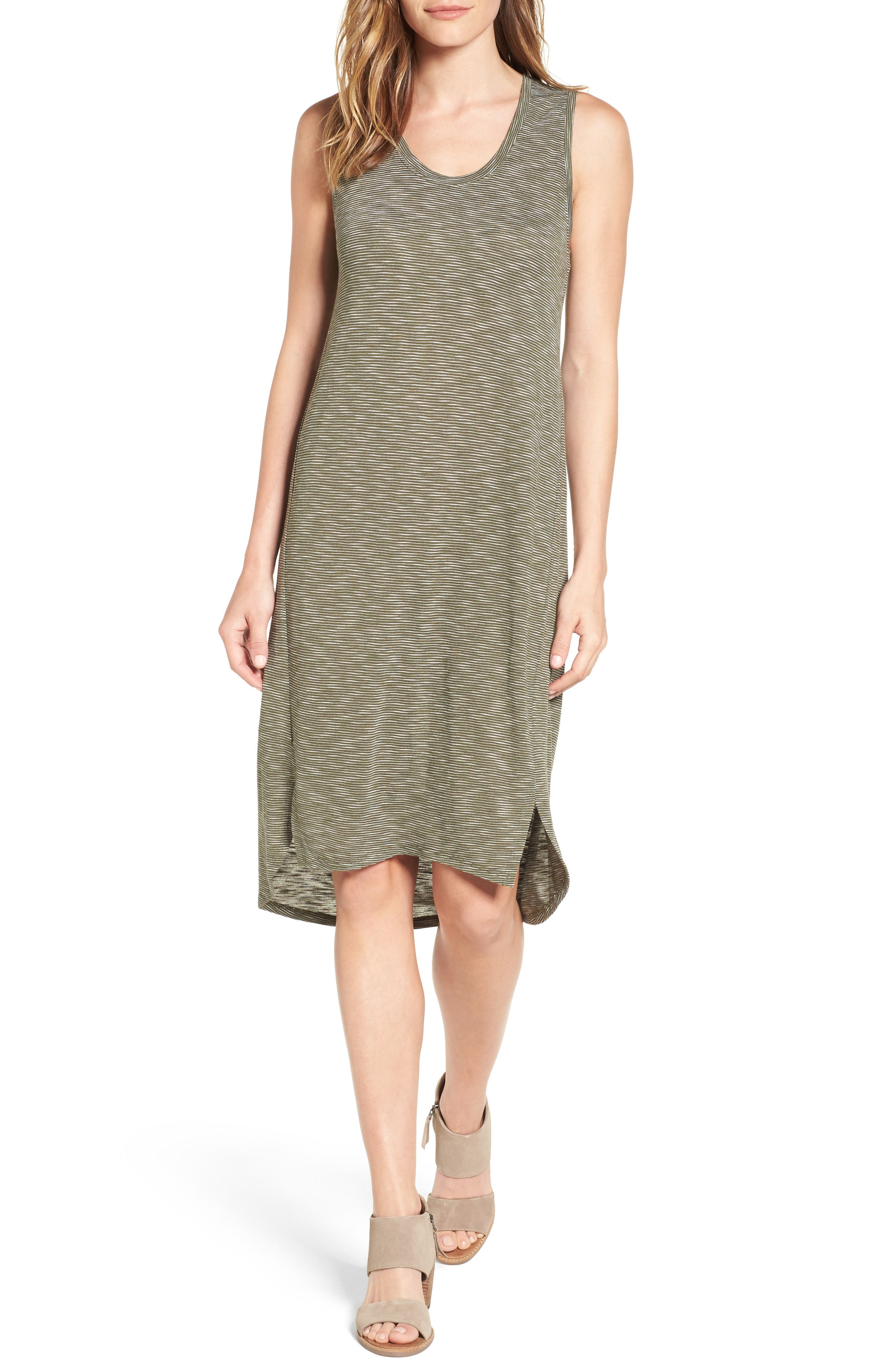 Caslon® Shirttail Hem Tank Dress (Regular & Petite)