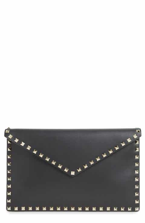 Valentino Rockstud Leather Envelope Pouch
