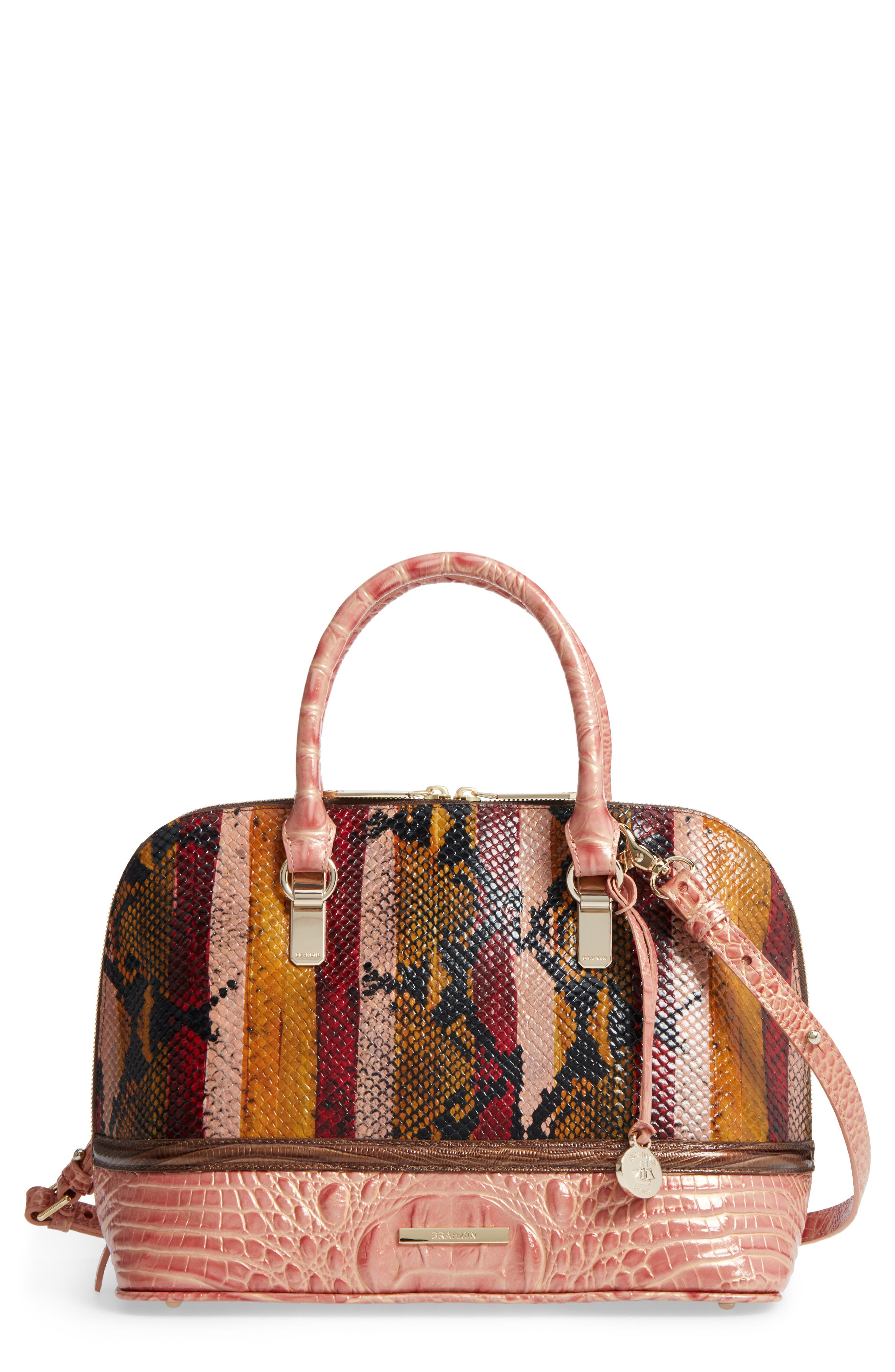 Brahmin Vivian Embossed Leather Dome Satchel