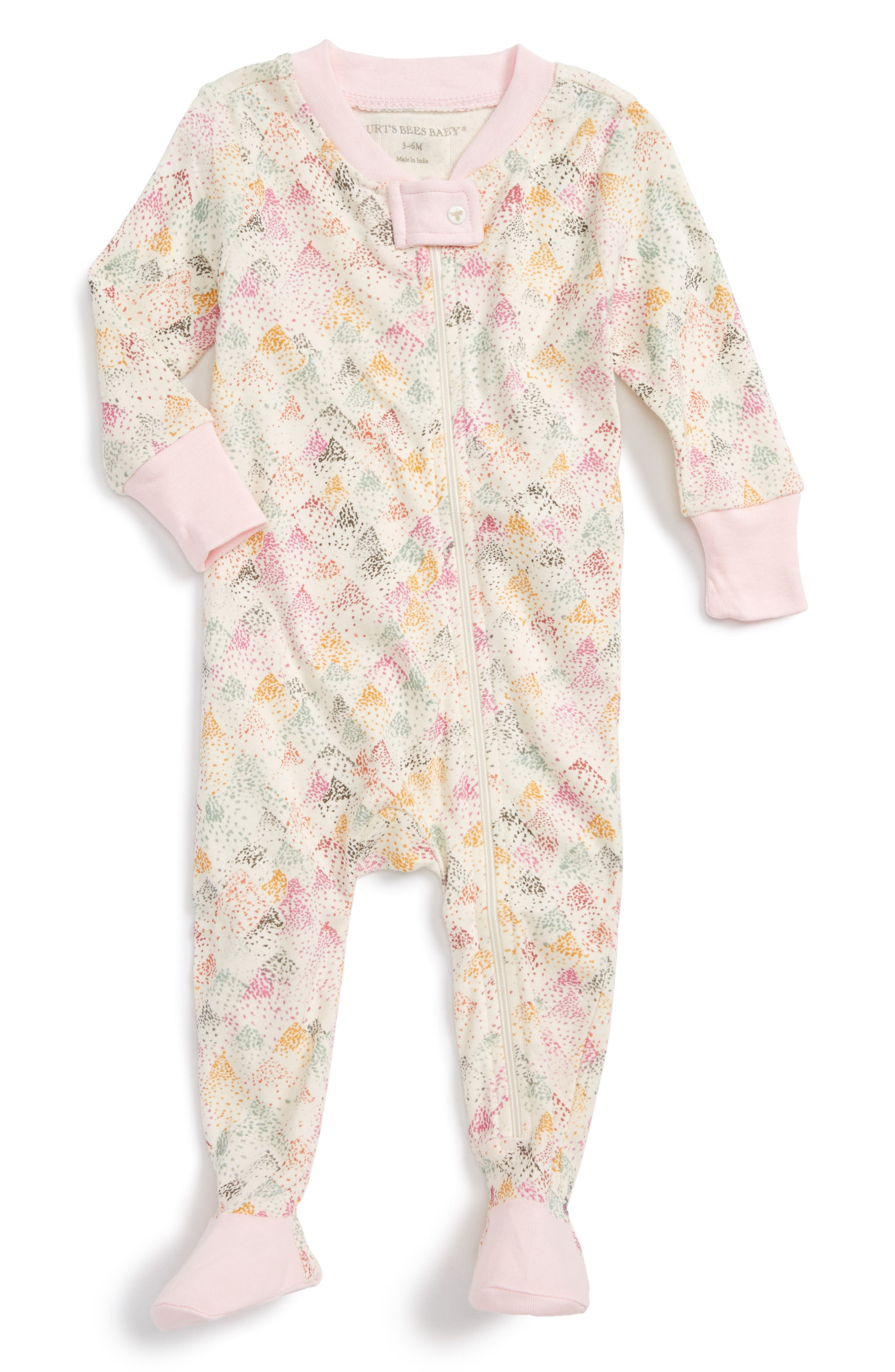Burt's Bees Baby Dotted Mountain Fitted One-Piece Footed Pajamas (Baby Girls)