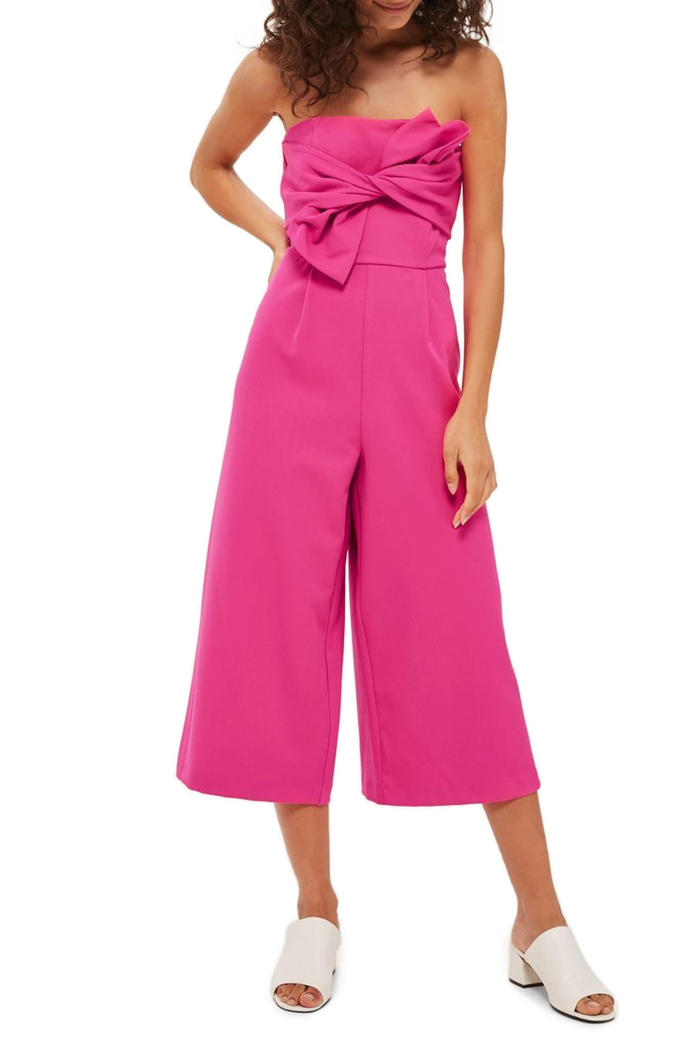Topshop Tie Twist Crop Jumpsuit