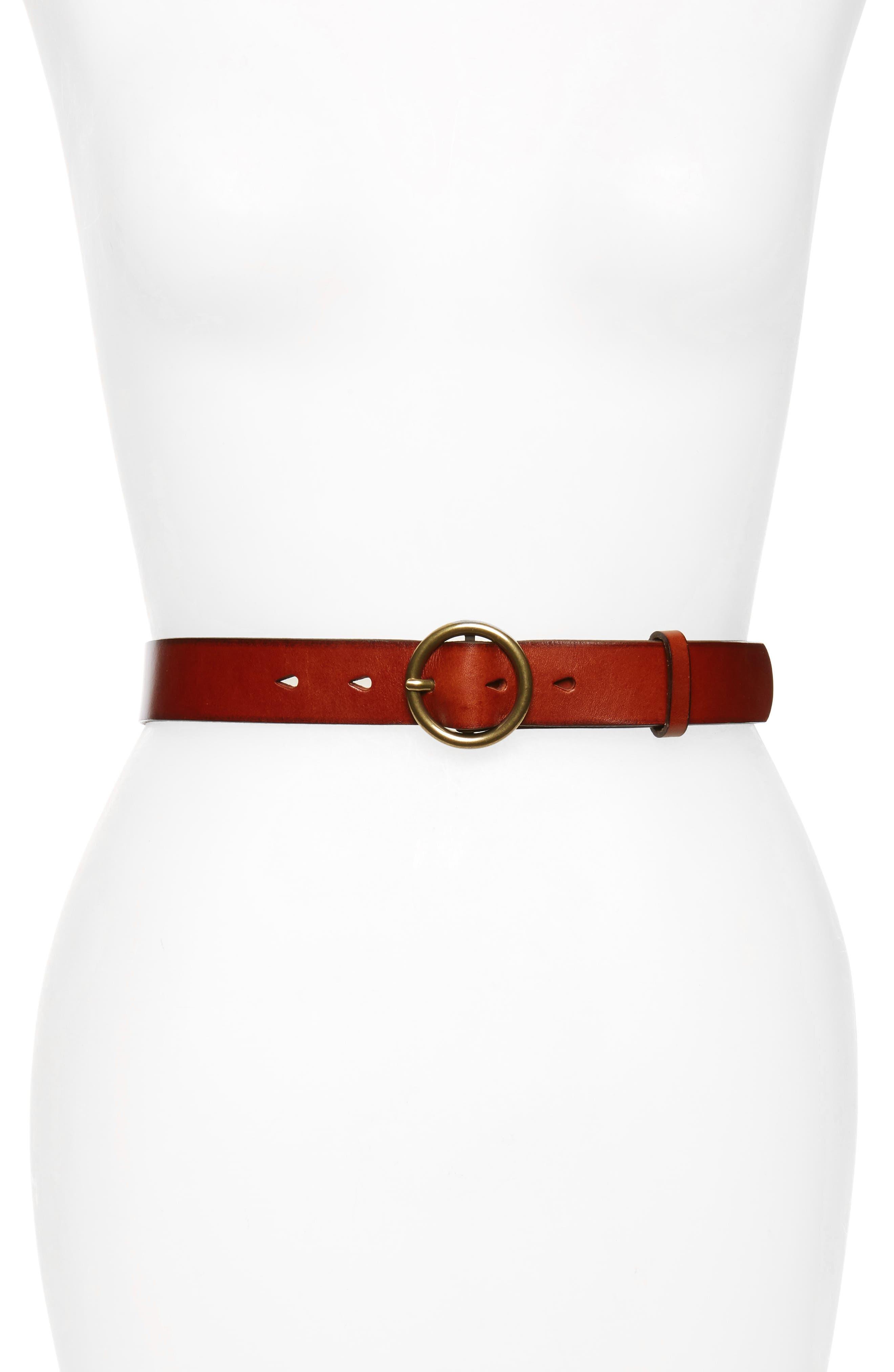 Halogen® Round Buckle Leather Belt