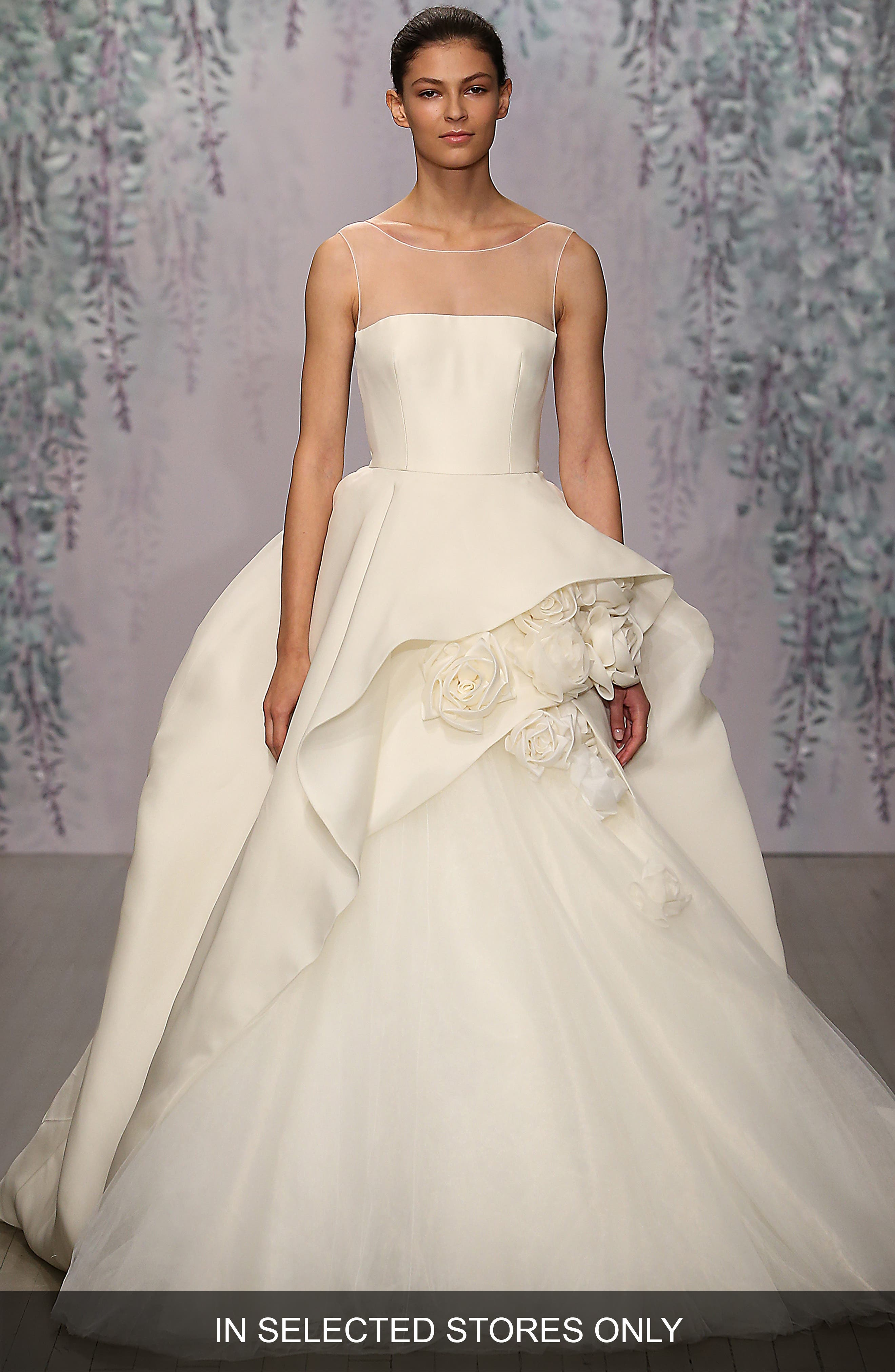 Monique Lhuillier Rosette Detail Silk Ballgown Dress (In Stores Only)