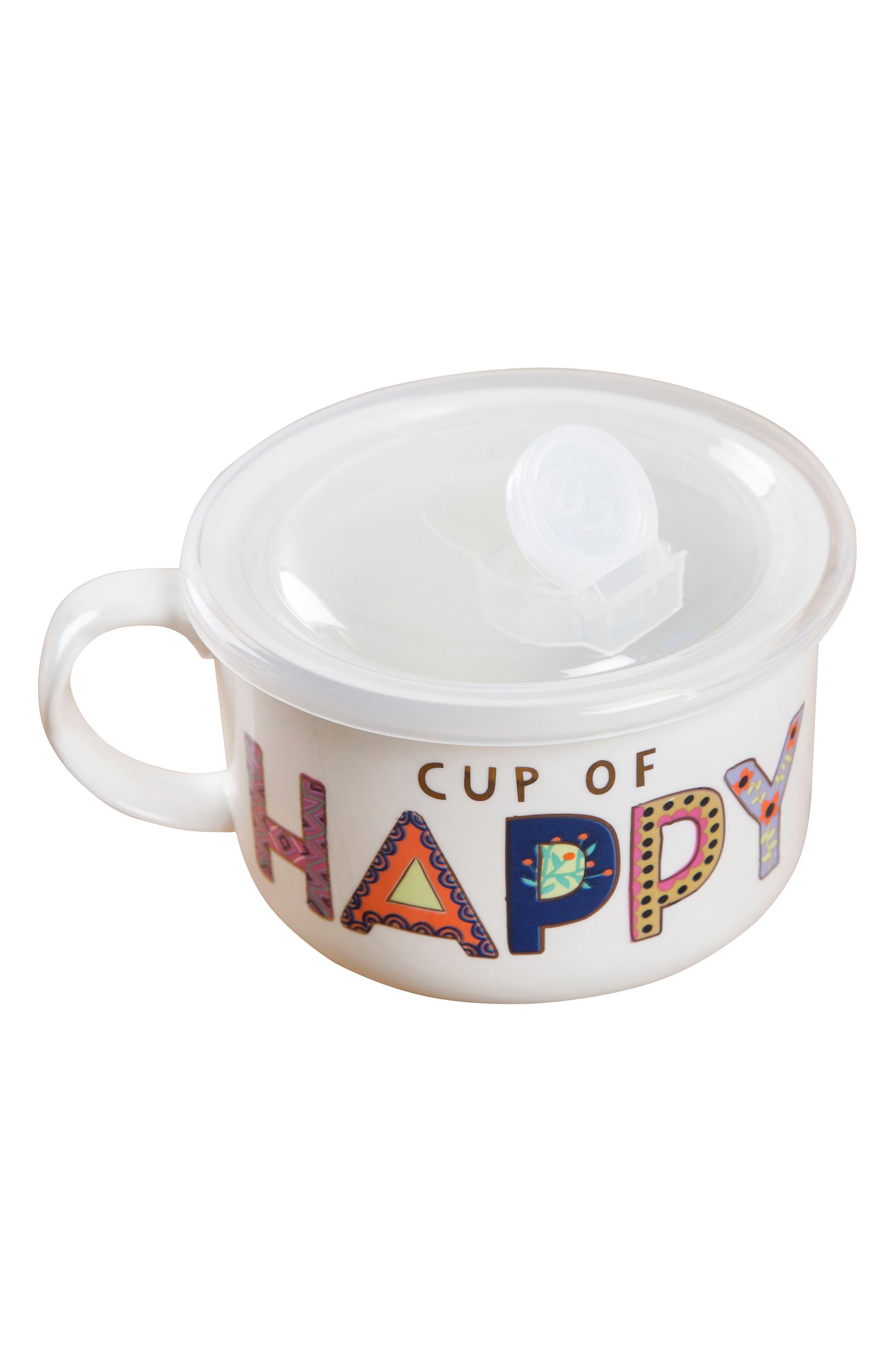 Natural Life Cup of Happy Lidded Ceramic Soup Mug