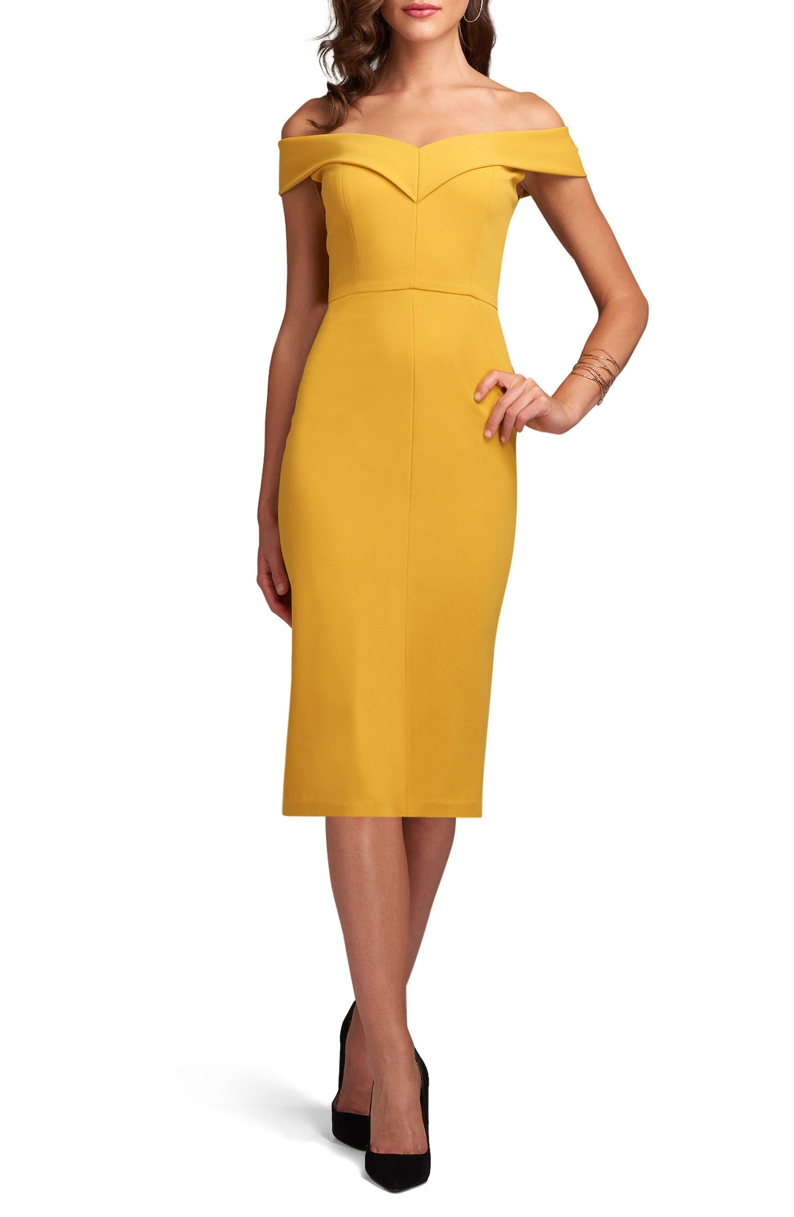 ECI Off the Shoulder Sheath Dress