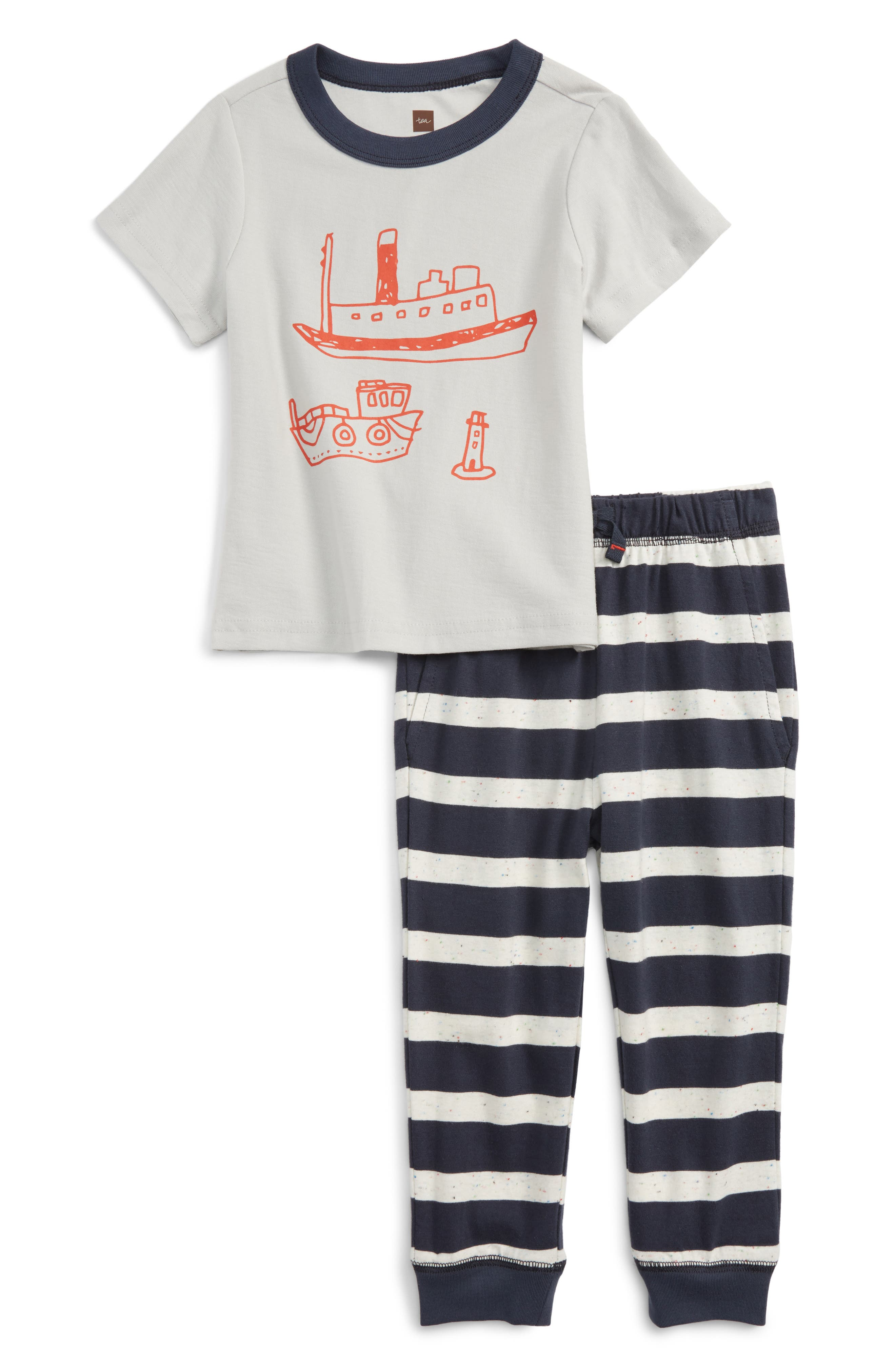 Tea Collection Plockton Graphic T-Shirt & Pants Set (Baby Boys)