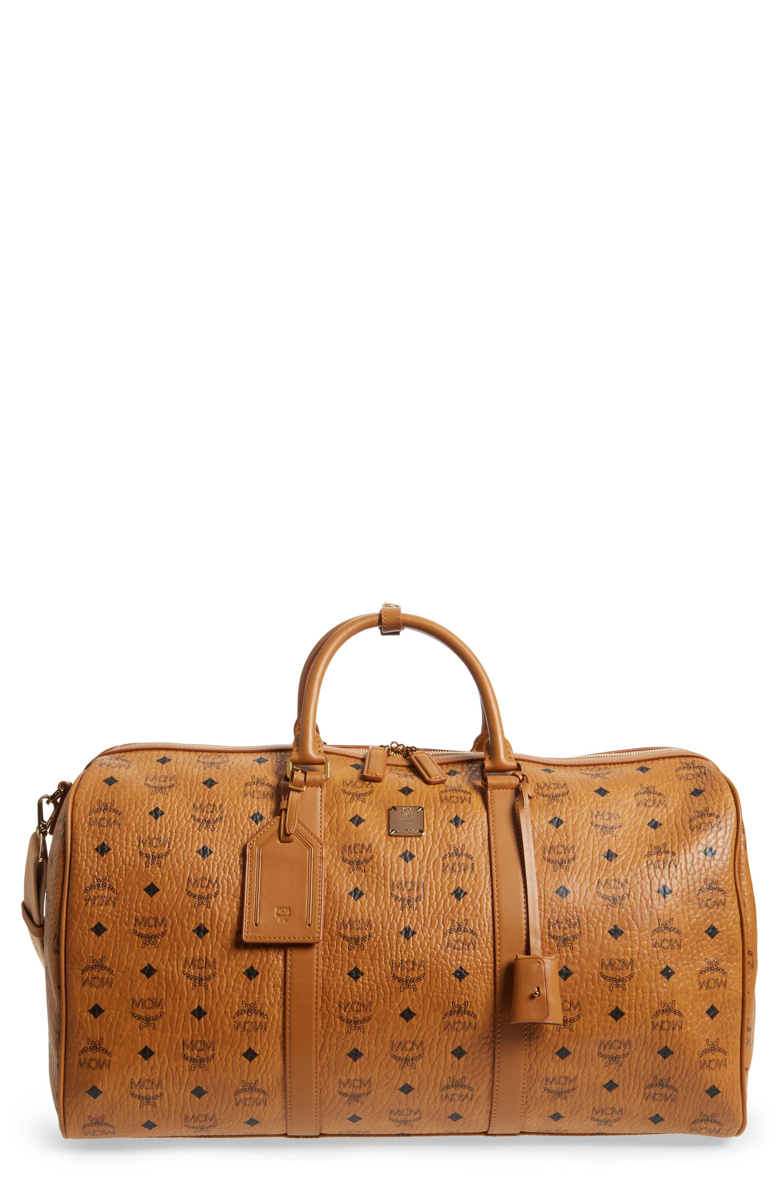 MCM Large Voyager Visetos Duffel Bag