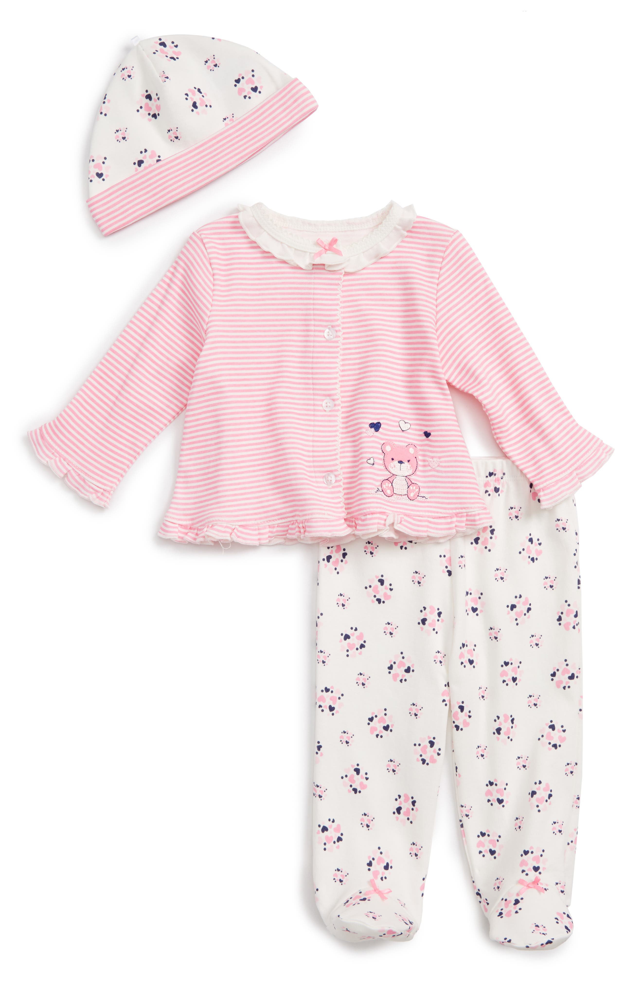 Little Me Sweet Heart Cardigan, Footed Leggings & Hat Set (Baby Girls)