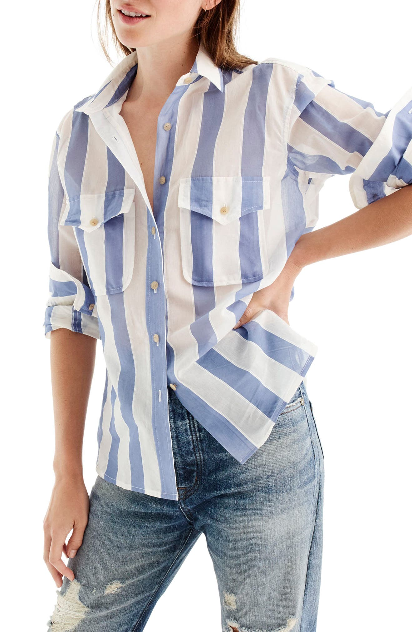 J.Crew Stripe Cotton & Silk Shirt