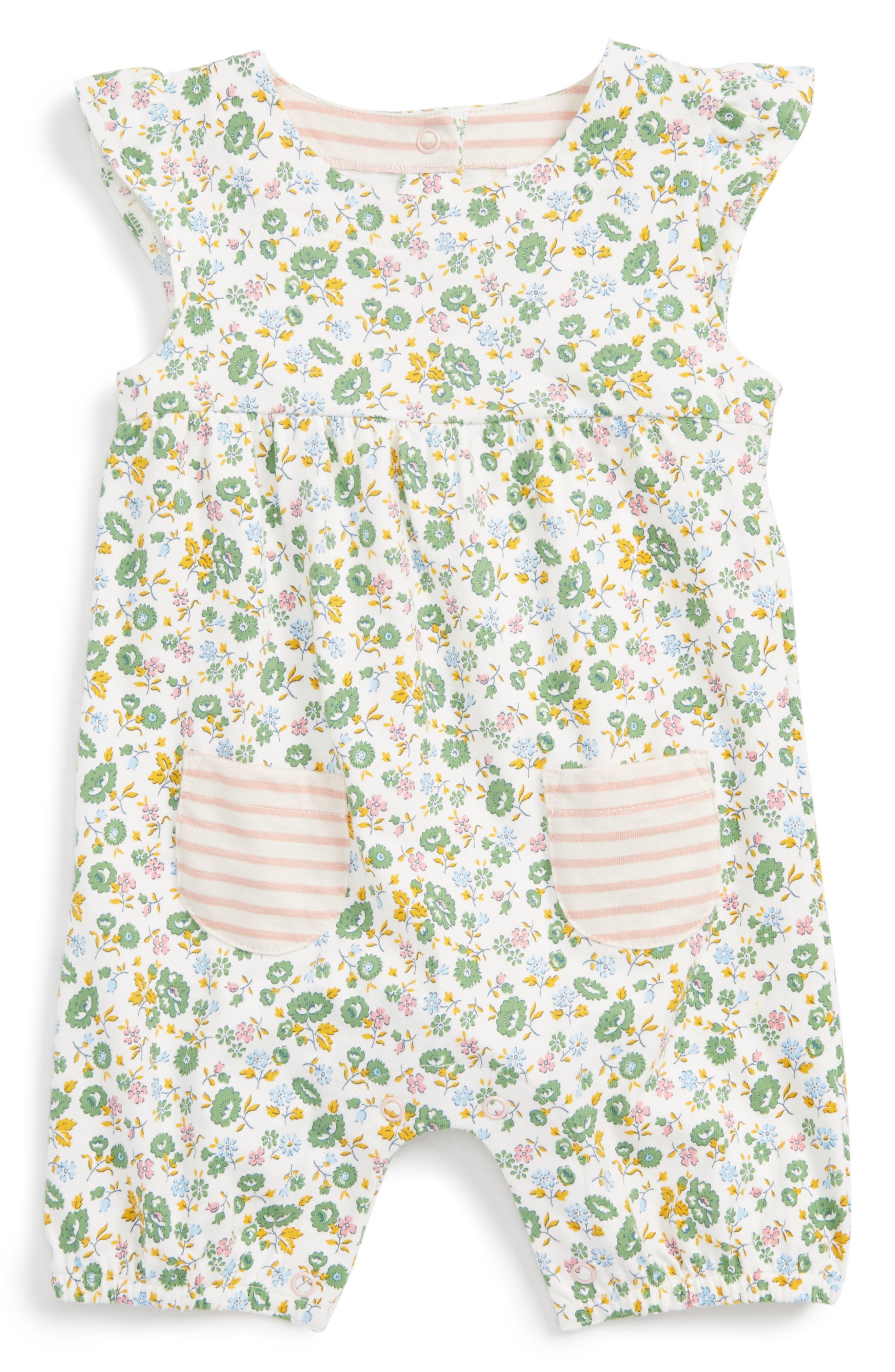 Mini Boden Print Romper (Baby Girls)