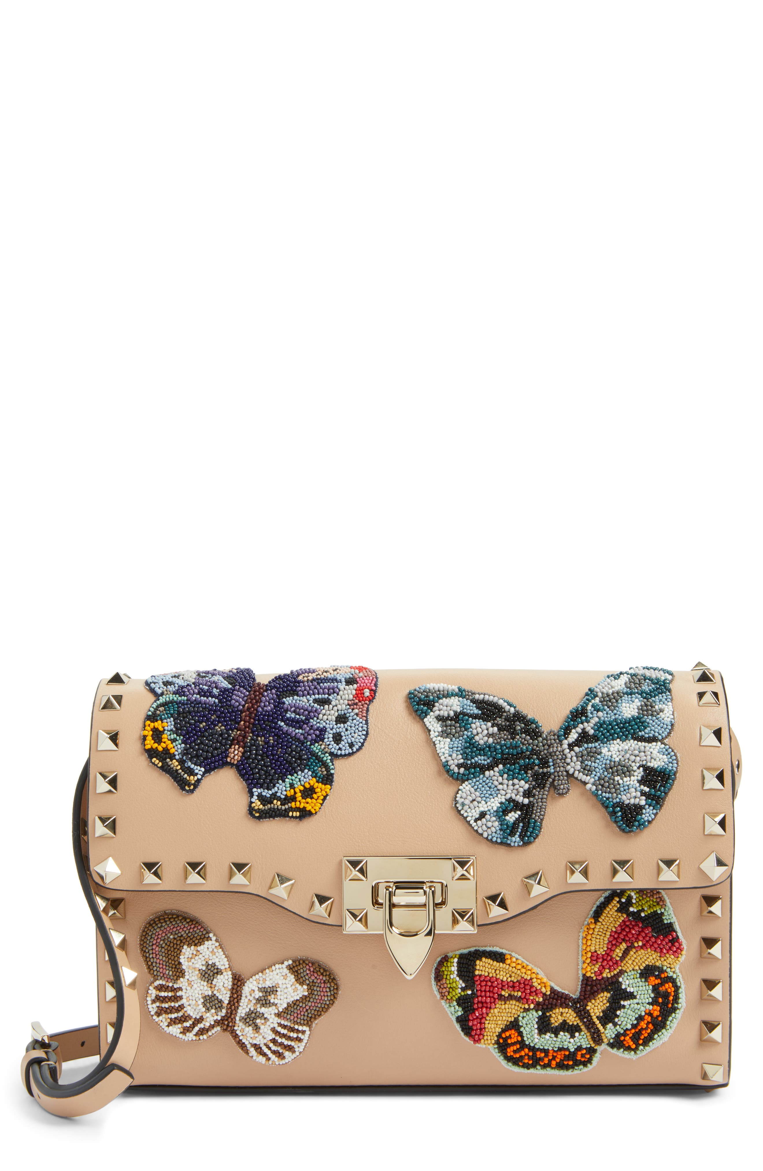 Valentino Medium Rockstud Butterfly Leather Shoulder Bag