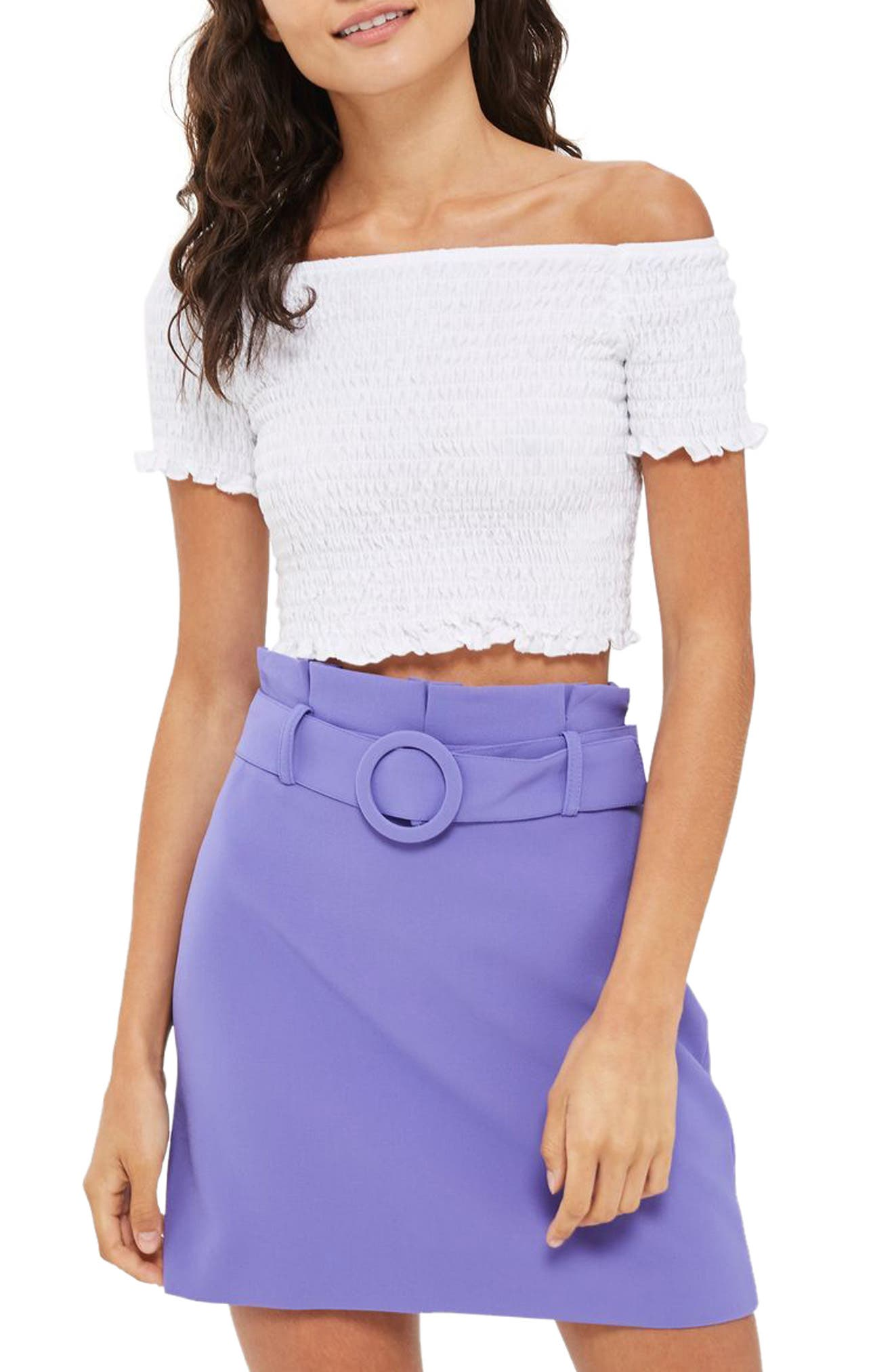Topshop Smocked Off the Shoulder Crop Top