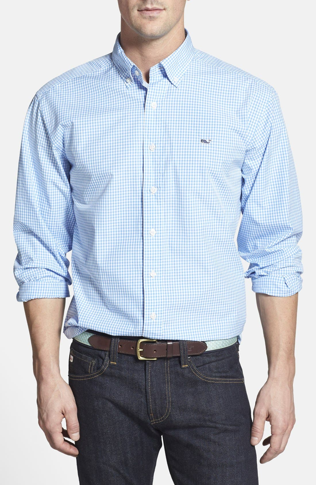 Alternate Image 1 Selected - Vineyard Vines 'Whale' Classic Fit Check Poplin Sport Shirt