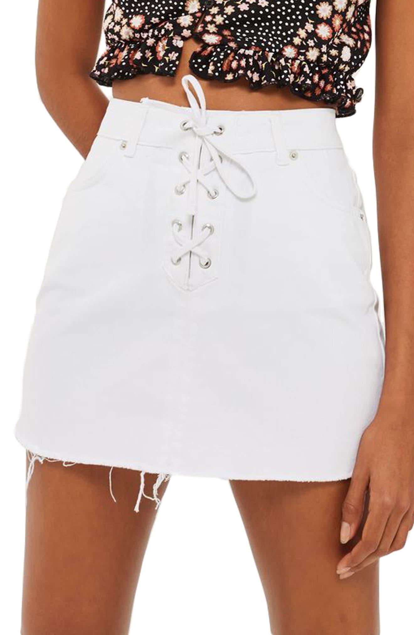 Topshop Lace-Up Front Denim Skirt