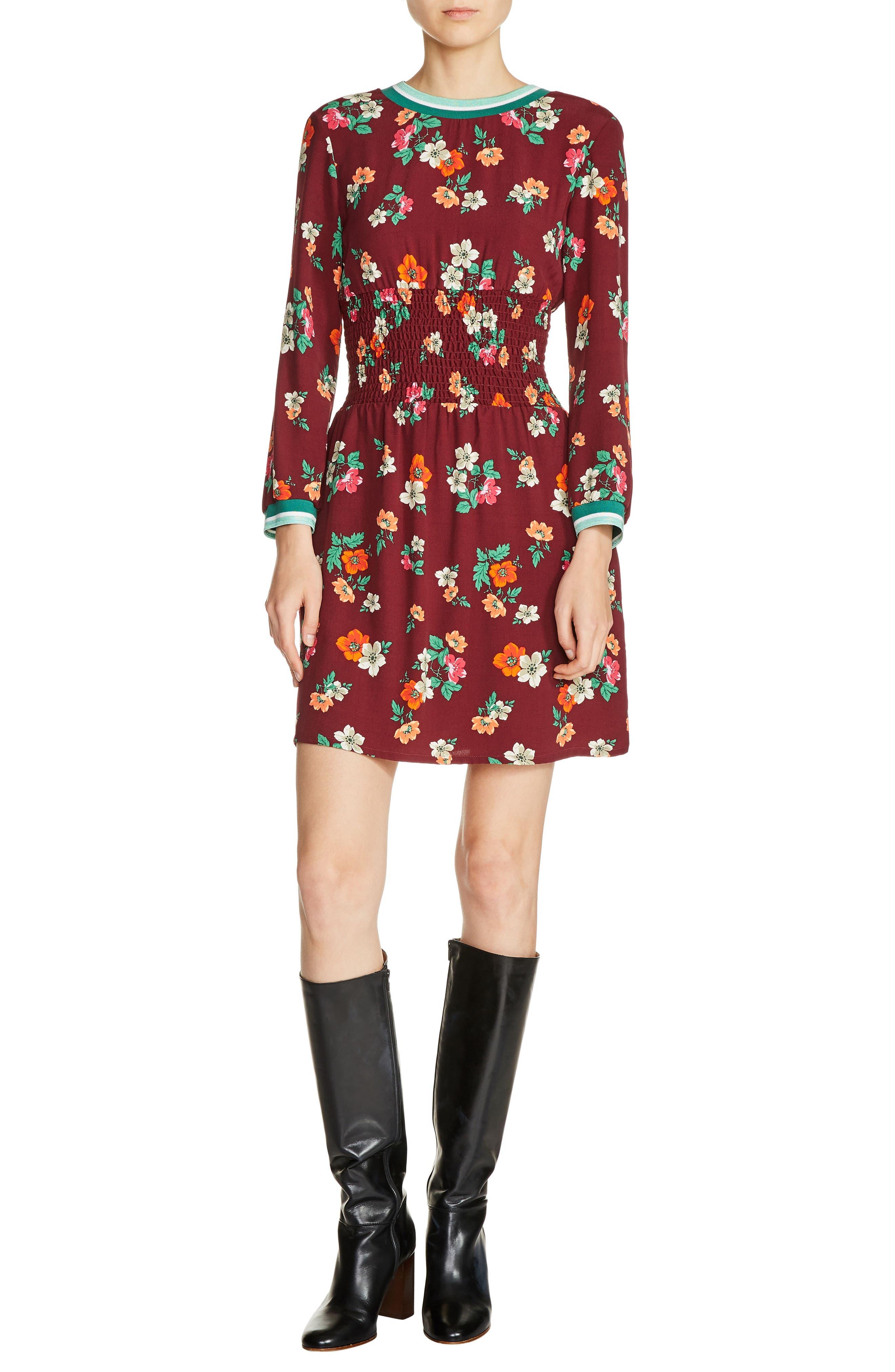 maje Floral Print A-Line Dress
