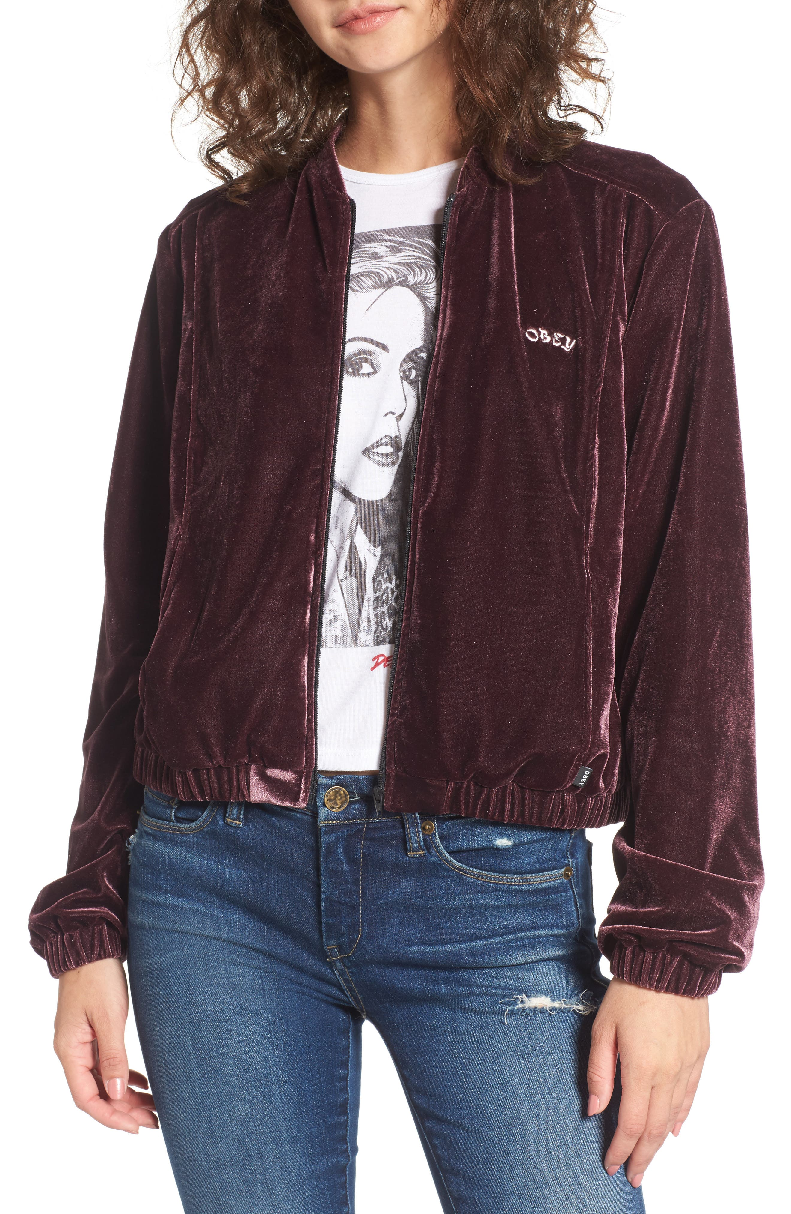 Obey Sabre Embroidered Velvet Jacket