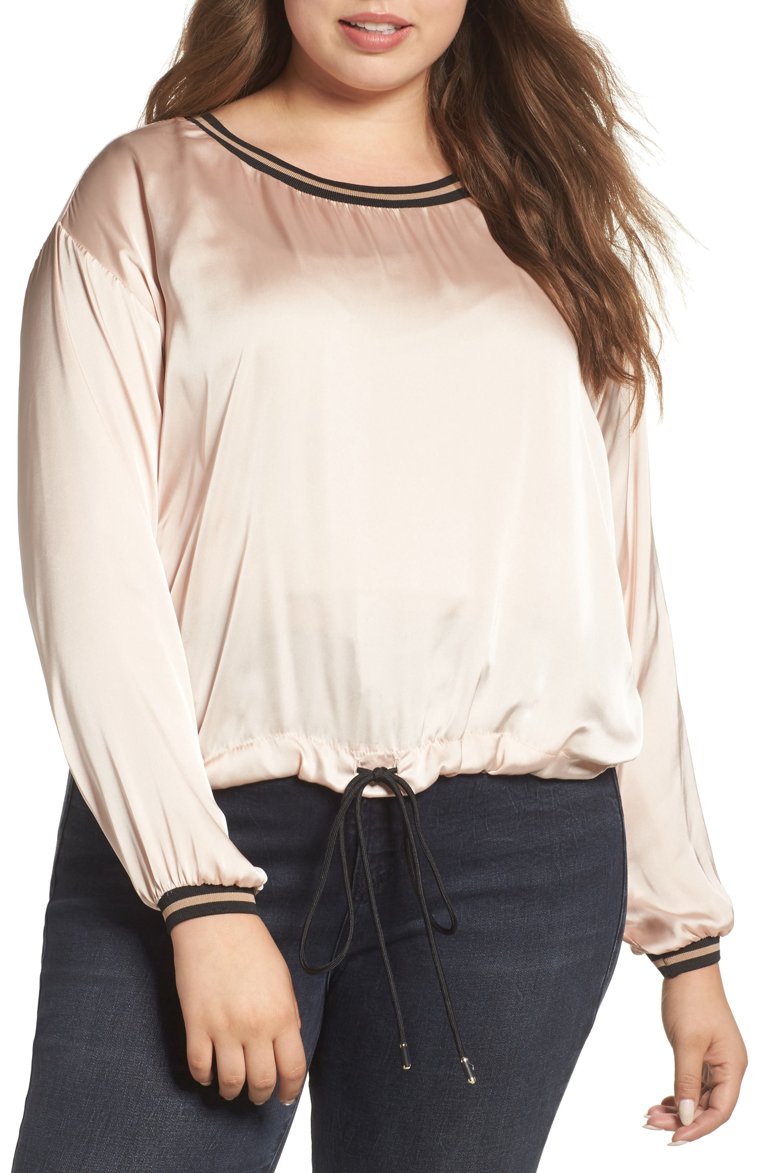 ELVI Drawstring Satin Top (Plus Size)