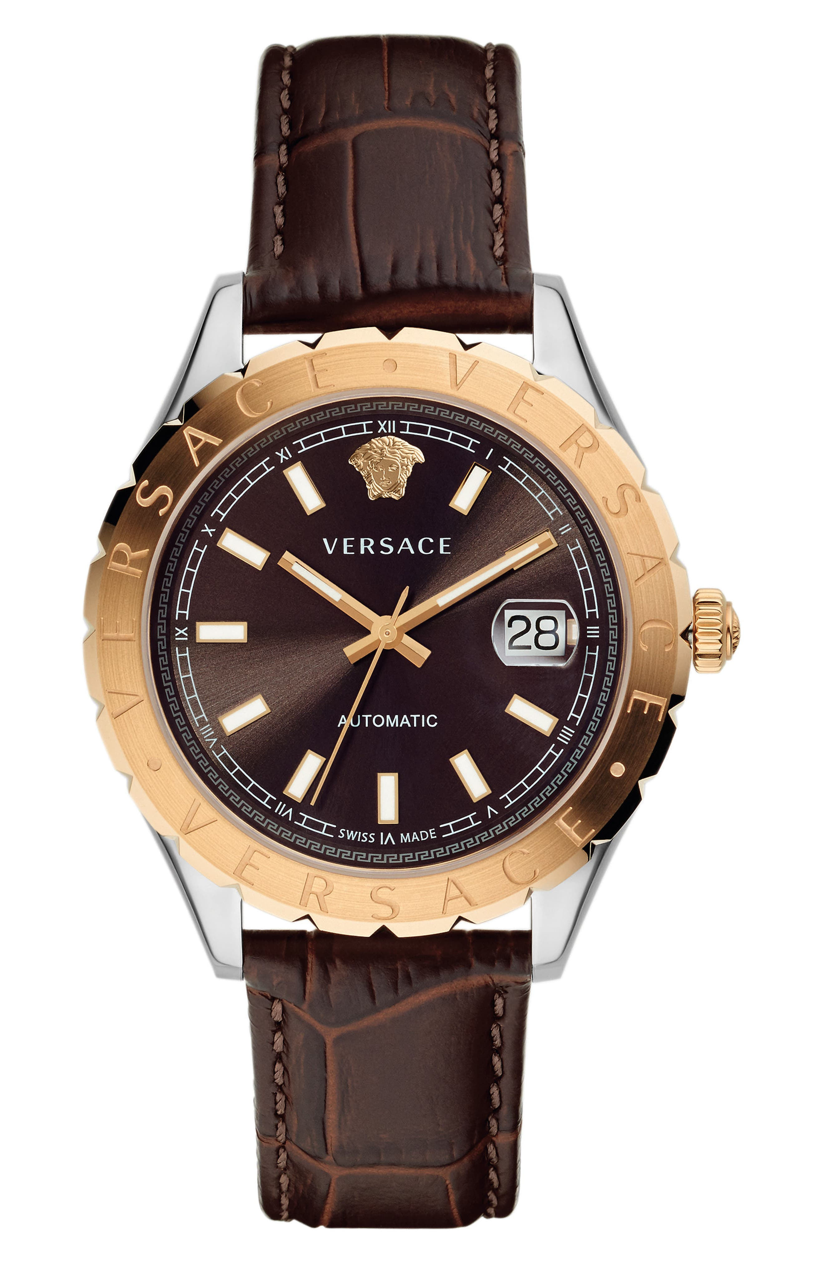 Versace Hellenyium Automatic Leather Strap Watch, 42mm