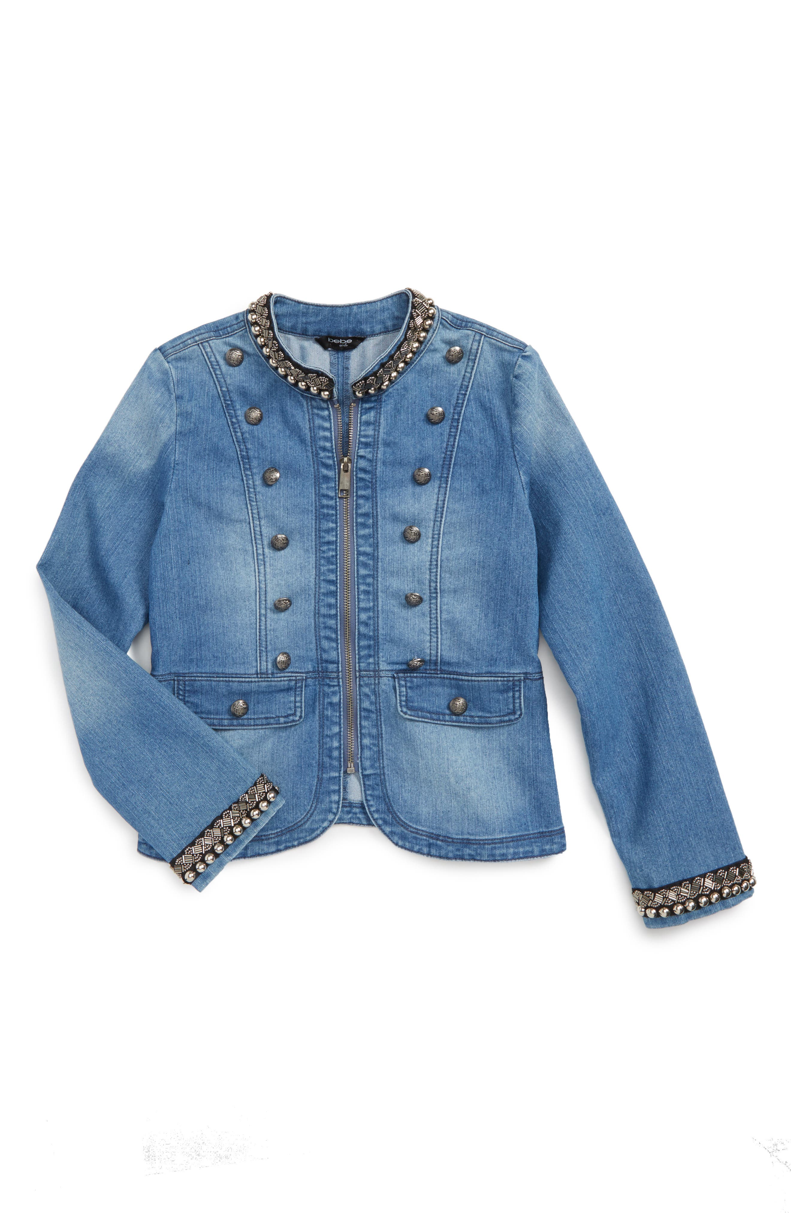 bebe Military Denim Jacket (Big Girls)