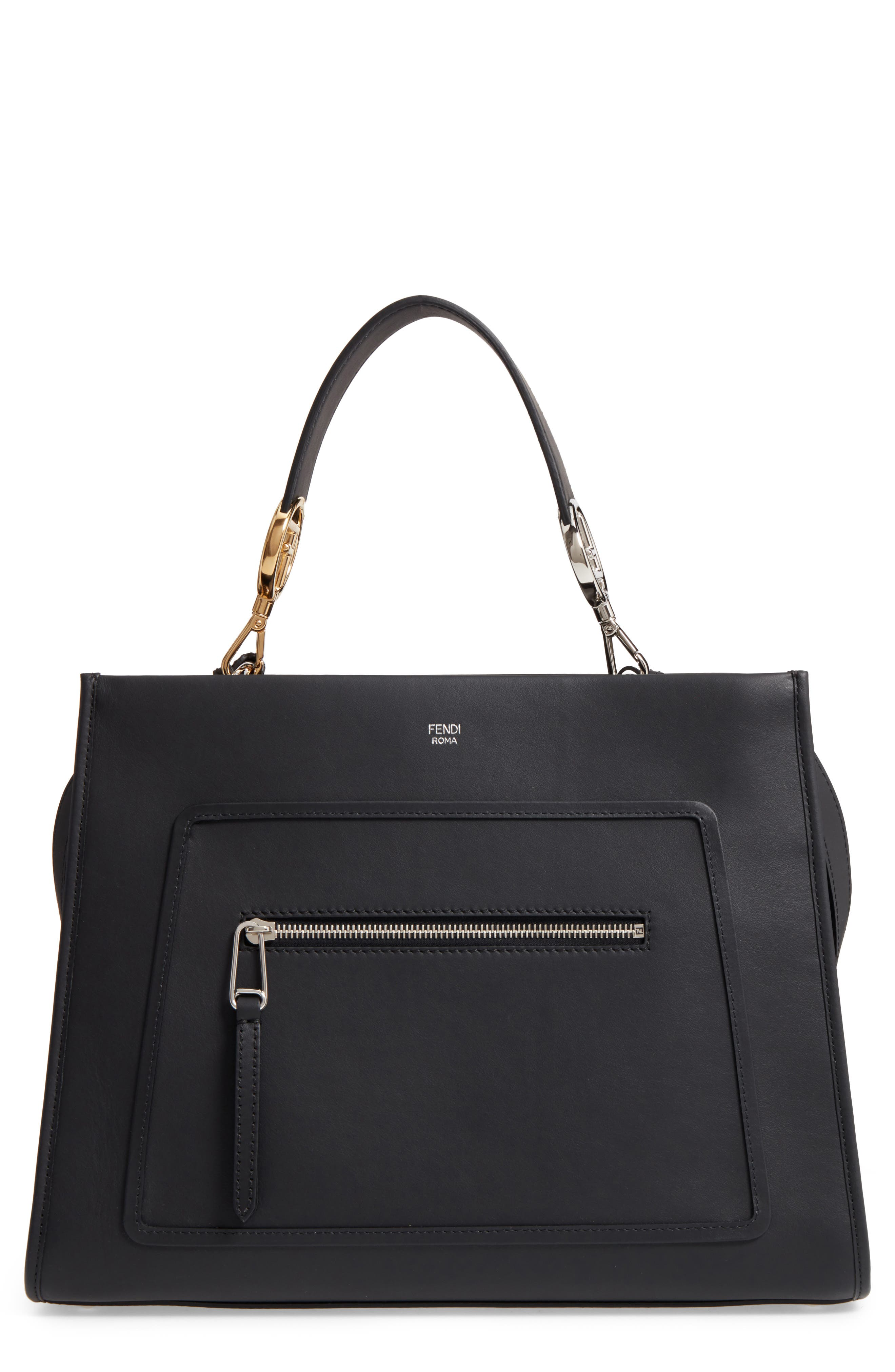 Fendi Runaway Leather Top Handle Satchel