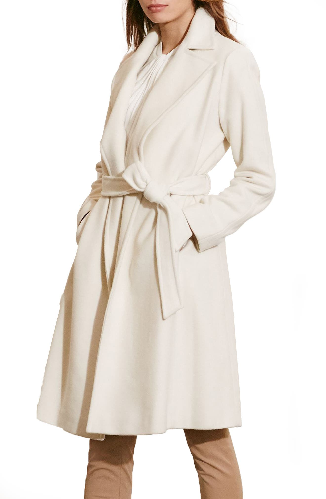 Alternate Image 1 Selected - Lauren Ralph Lauren Wool Blend Wrap Coat (Regular & Petite) (Online Only)