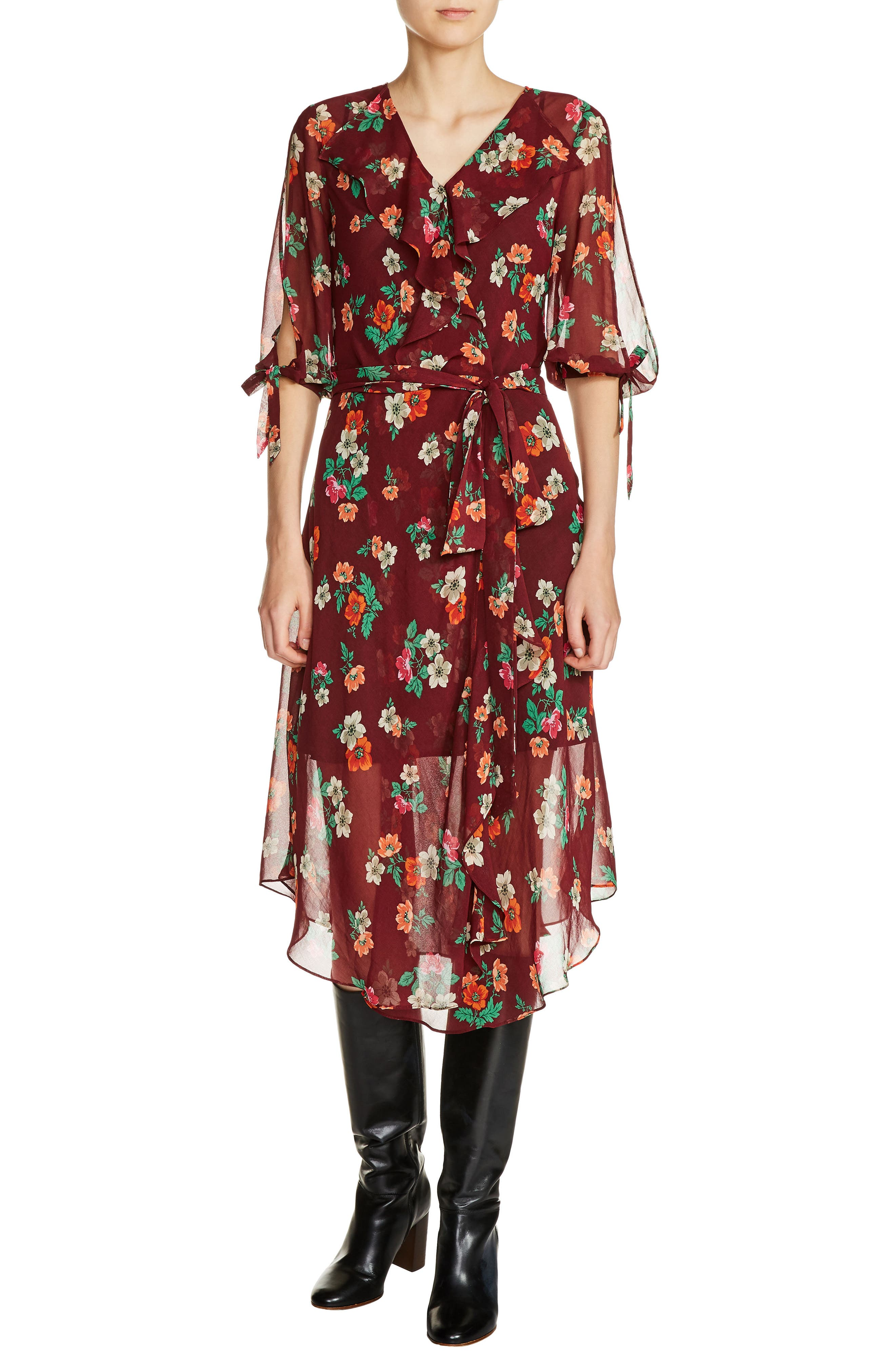 maje Ruffle Floral Print Faux Wrap Dress