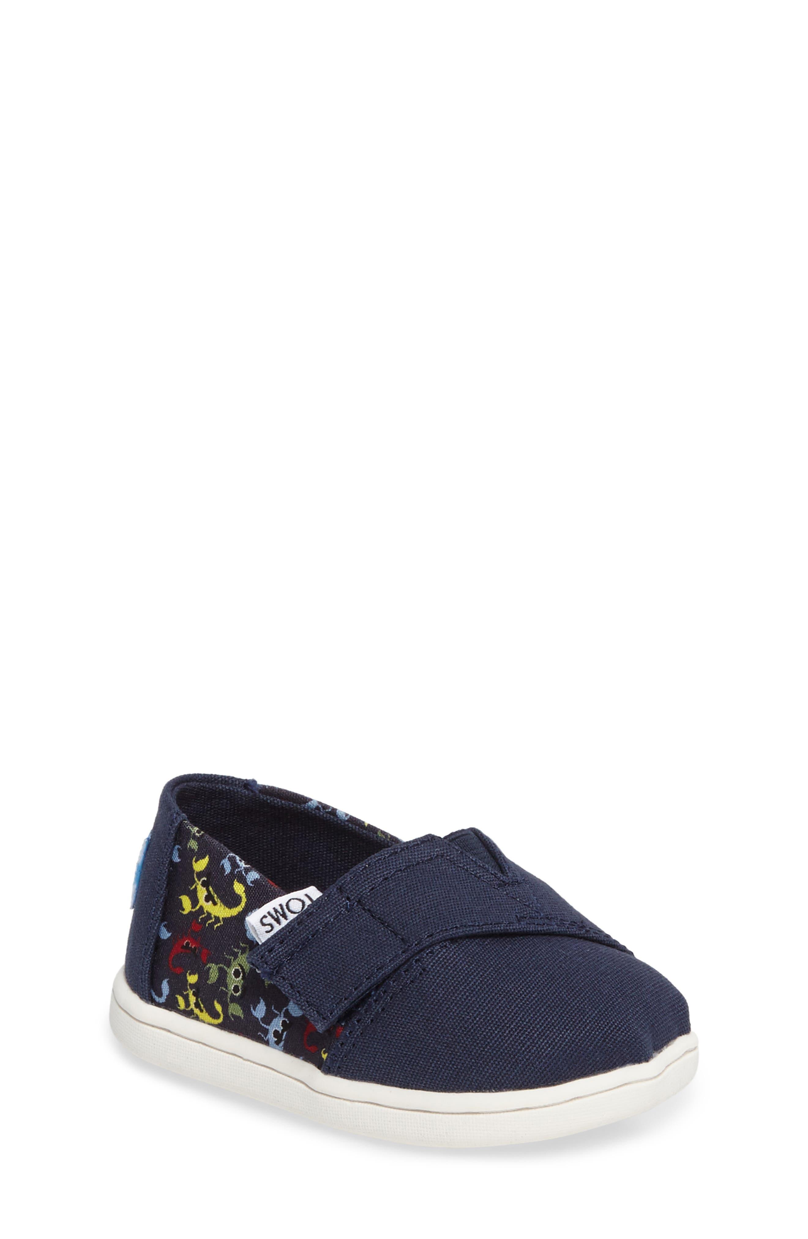 TOMS Tiny Alpargata Print Slip-On (Baby, Walker & Toddler)