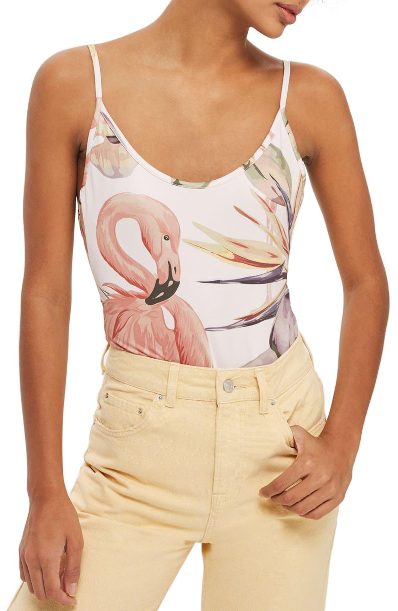 Topshop Tie Back Flamingo Print Bodysuit