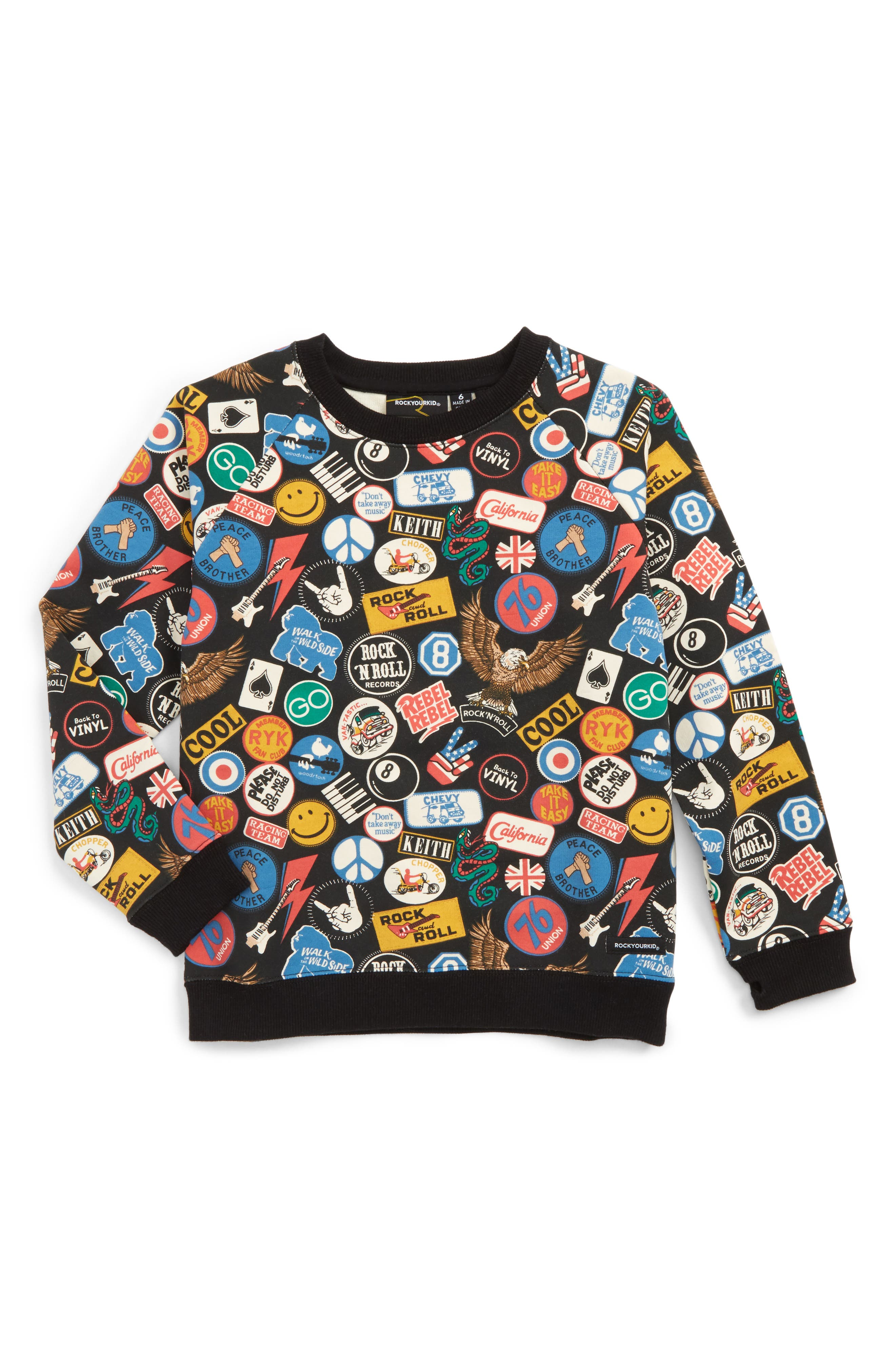 Rock Your Baby Vintage Patches Sweatshirt (Toddler Boys & Little Boys)