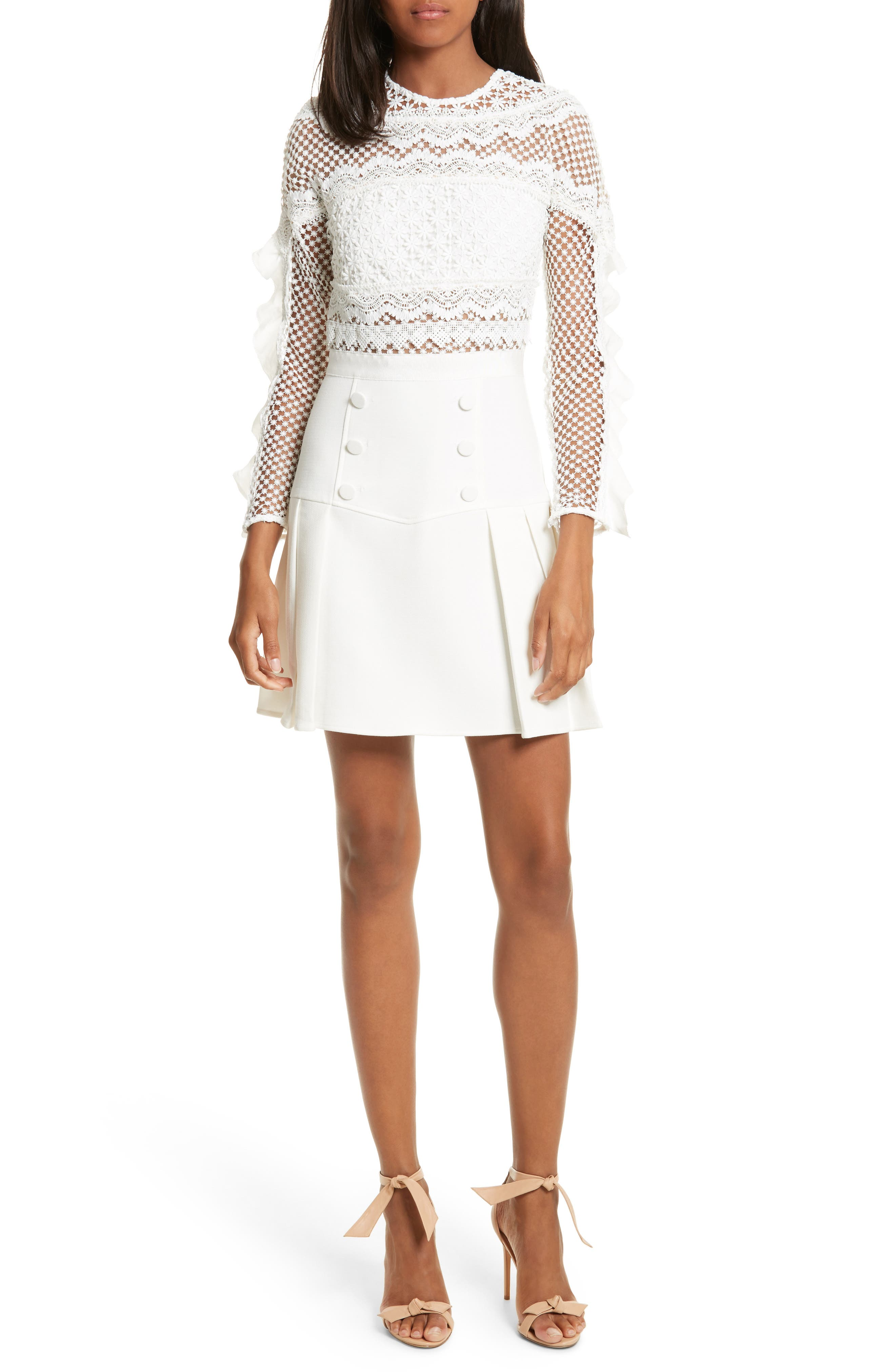 Self-Portrait Bellis Lace Fit & Flare Dress
