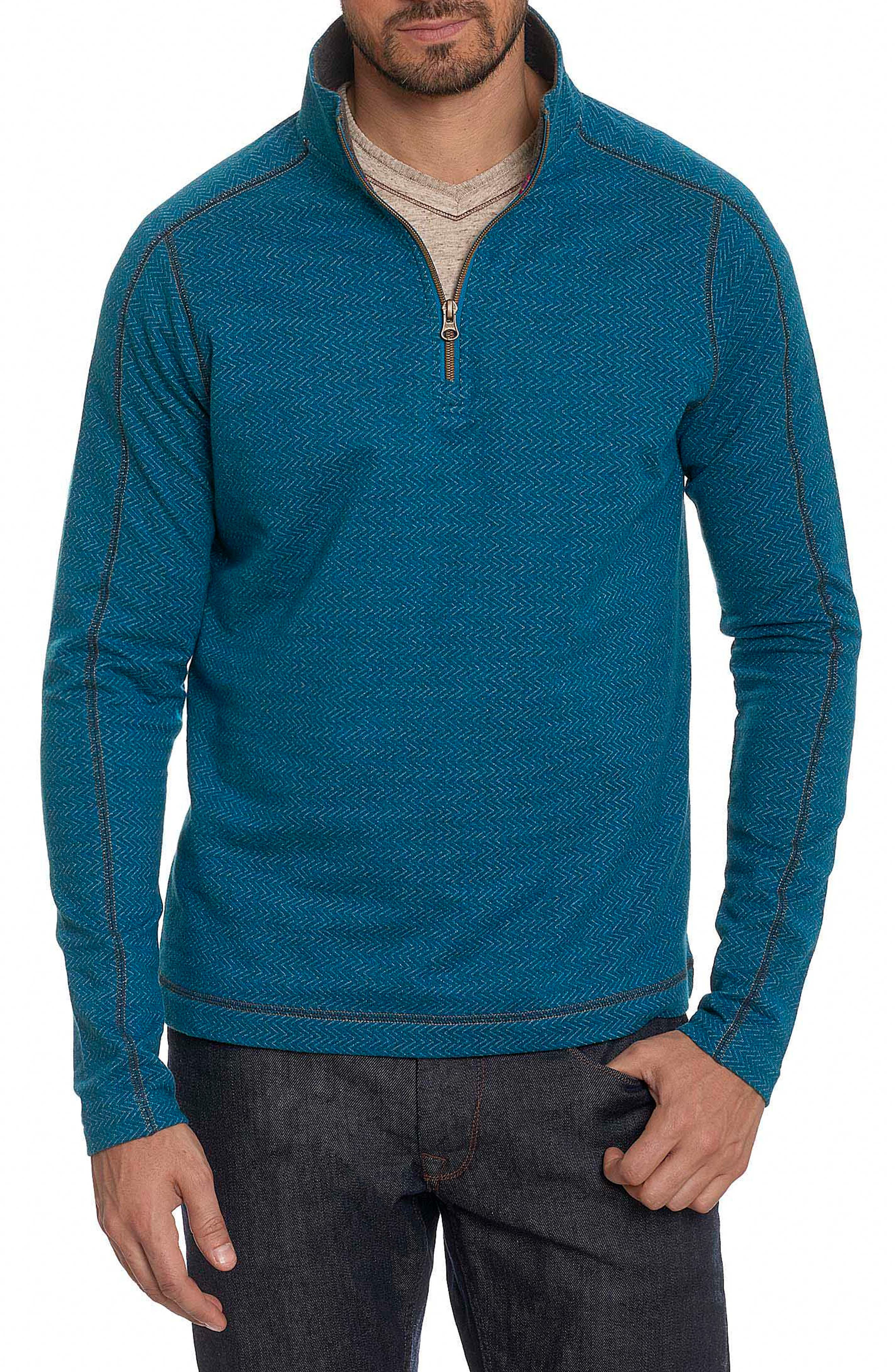Robert Graham Warrensburg Herringbone Quarter Zip Pullover
