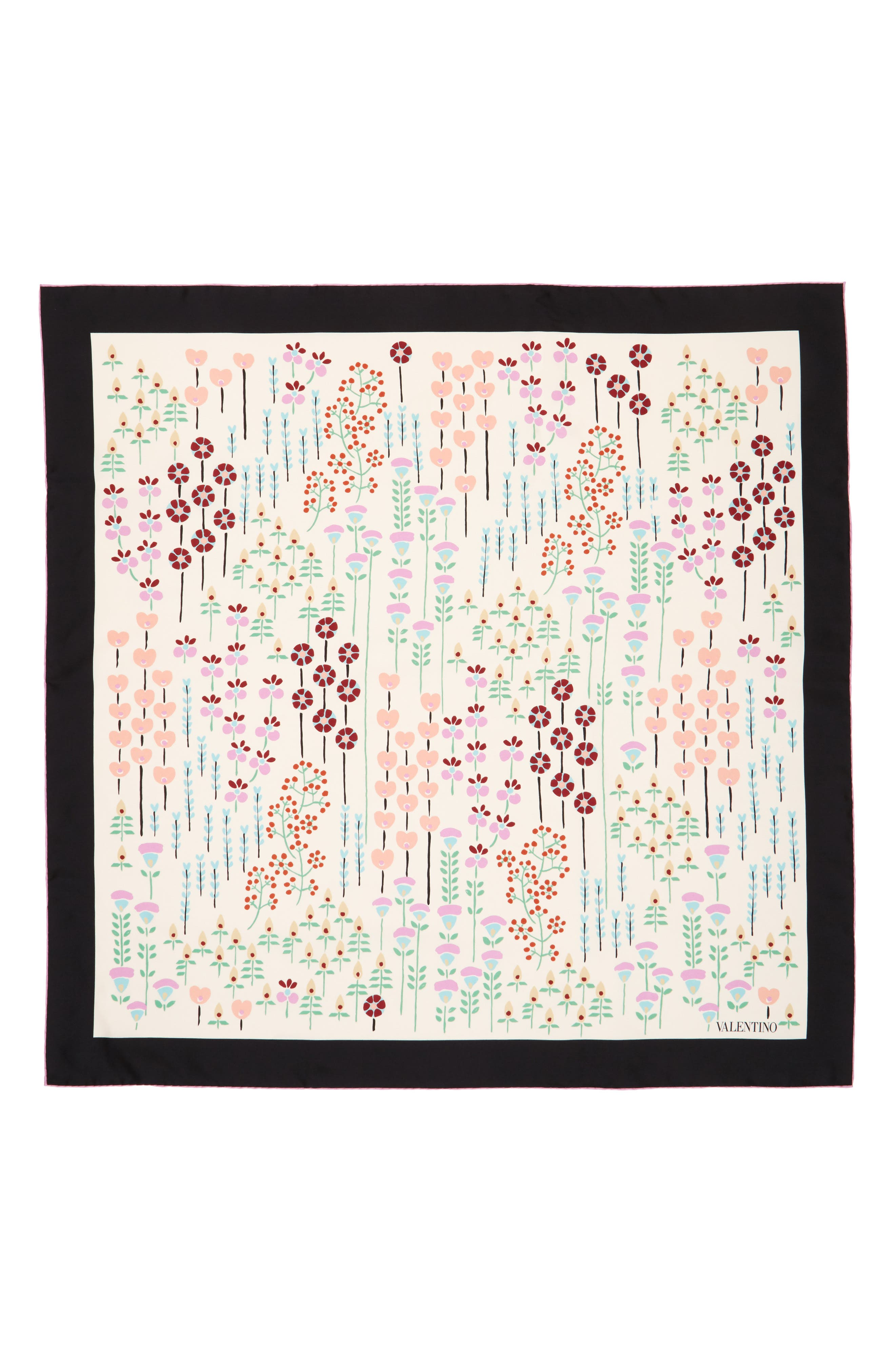 Valentino Flower Stems Silk Scarf