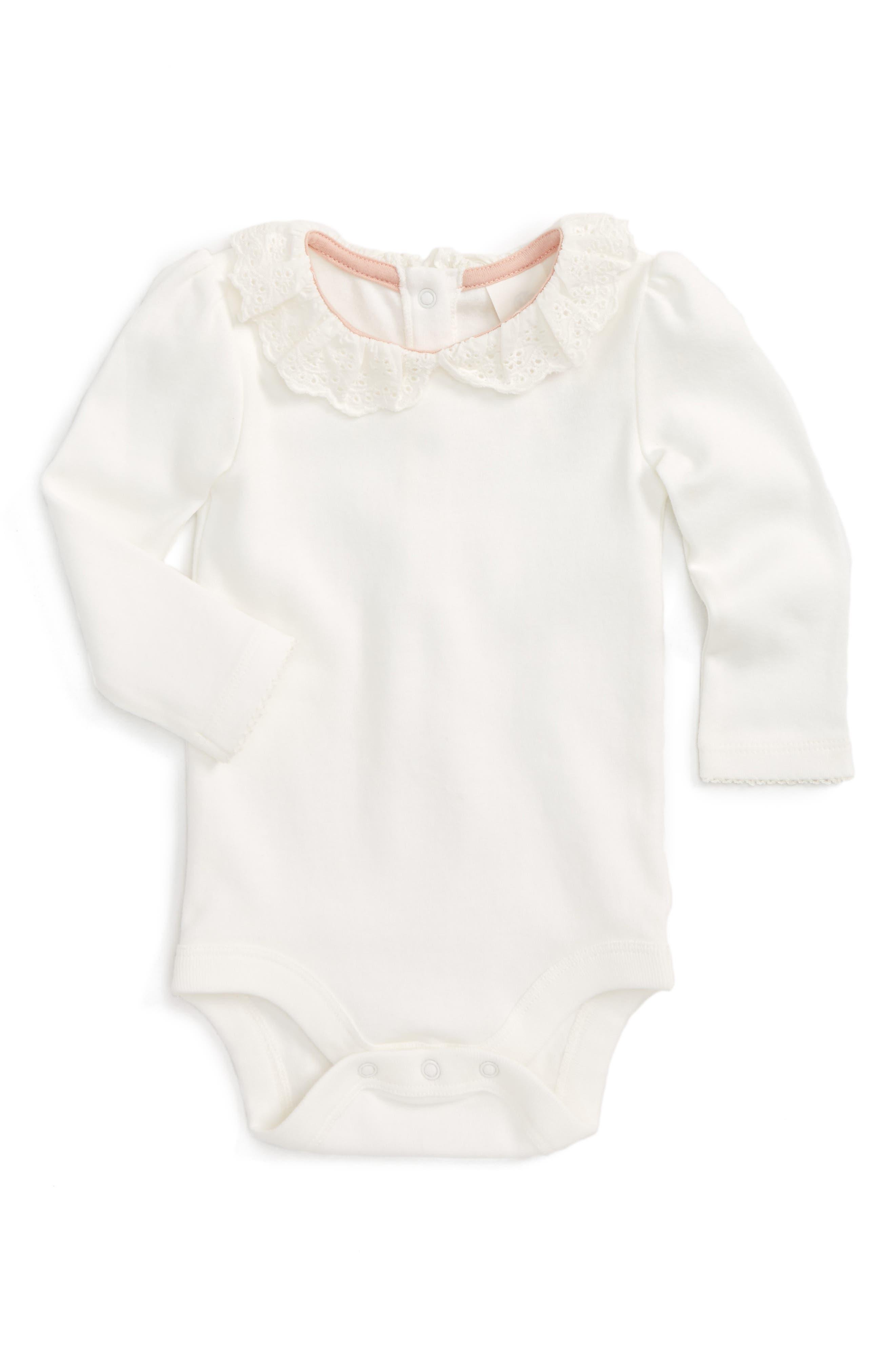 Mini Boden Pretty Collar Bodysuit (Baby)