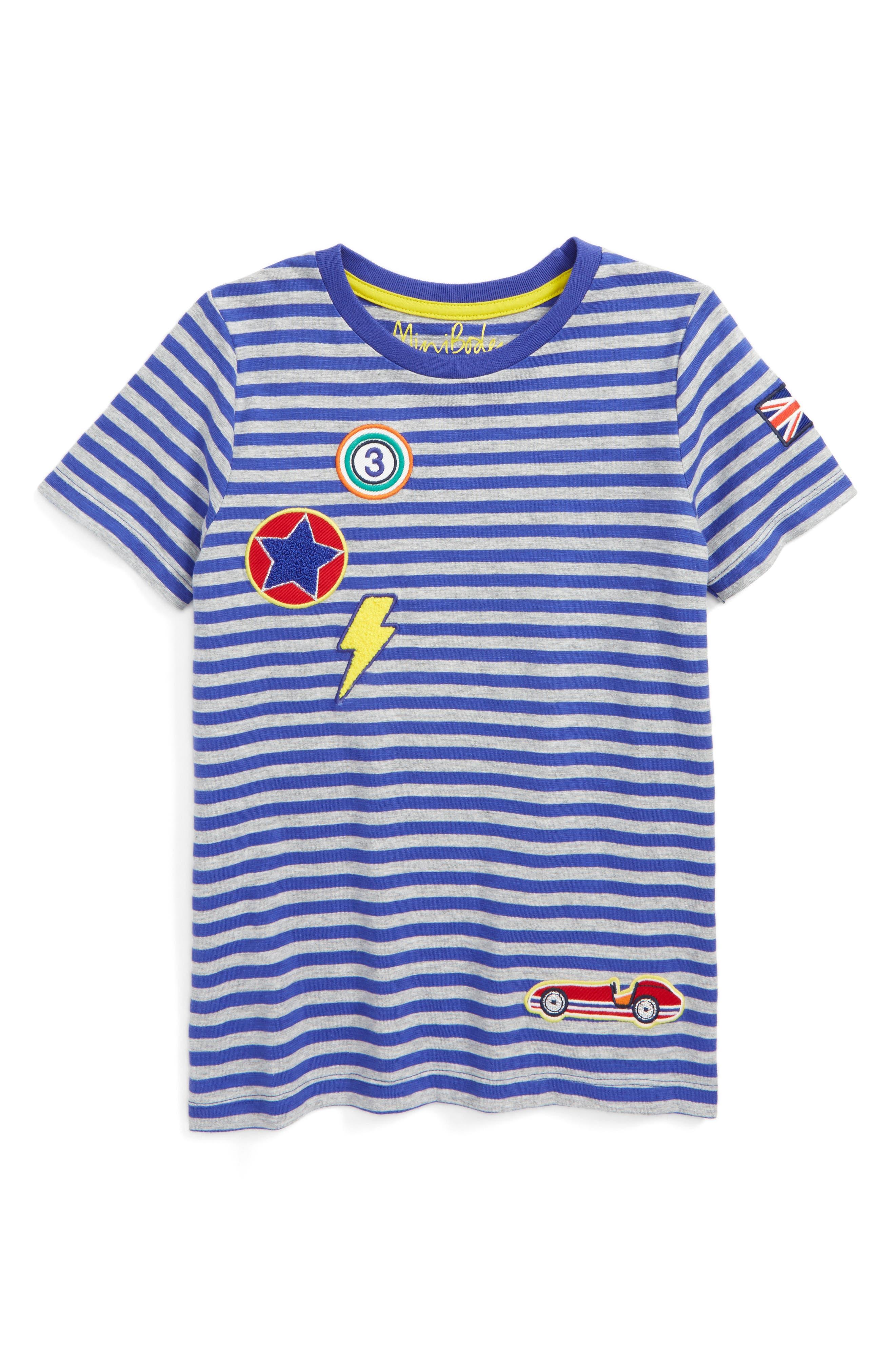 Mini Boden Patch Stripe T-Shirt (Toddler Boys, Little Boys & Big Boys)